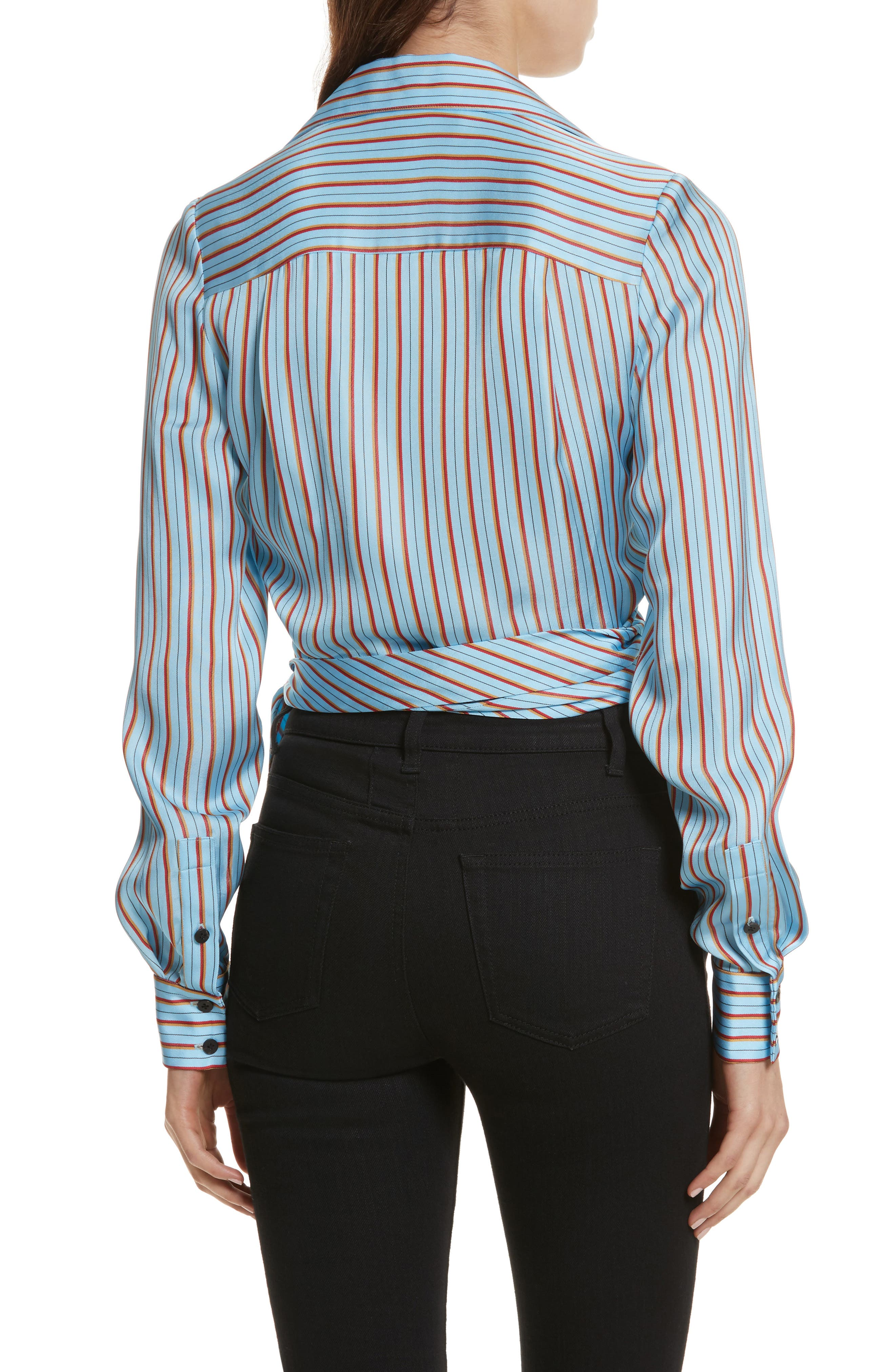 Diane von Furstenberg Stripe Wrap Top,                             Alternate thumbnail 2, color,                             477