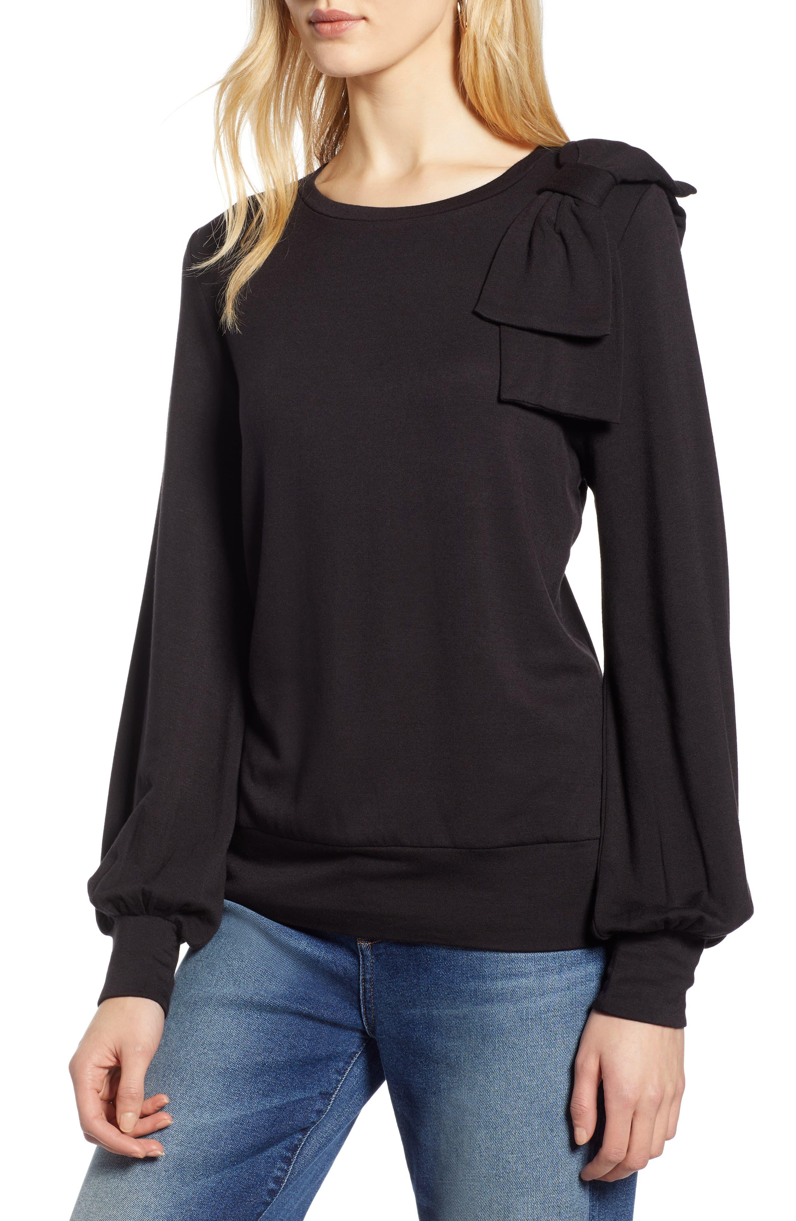 Bow Trim Sweatshirt, Main, color, 001