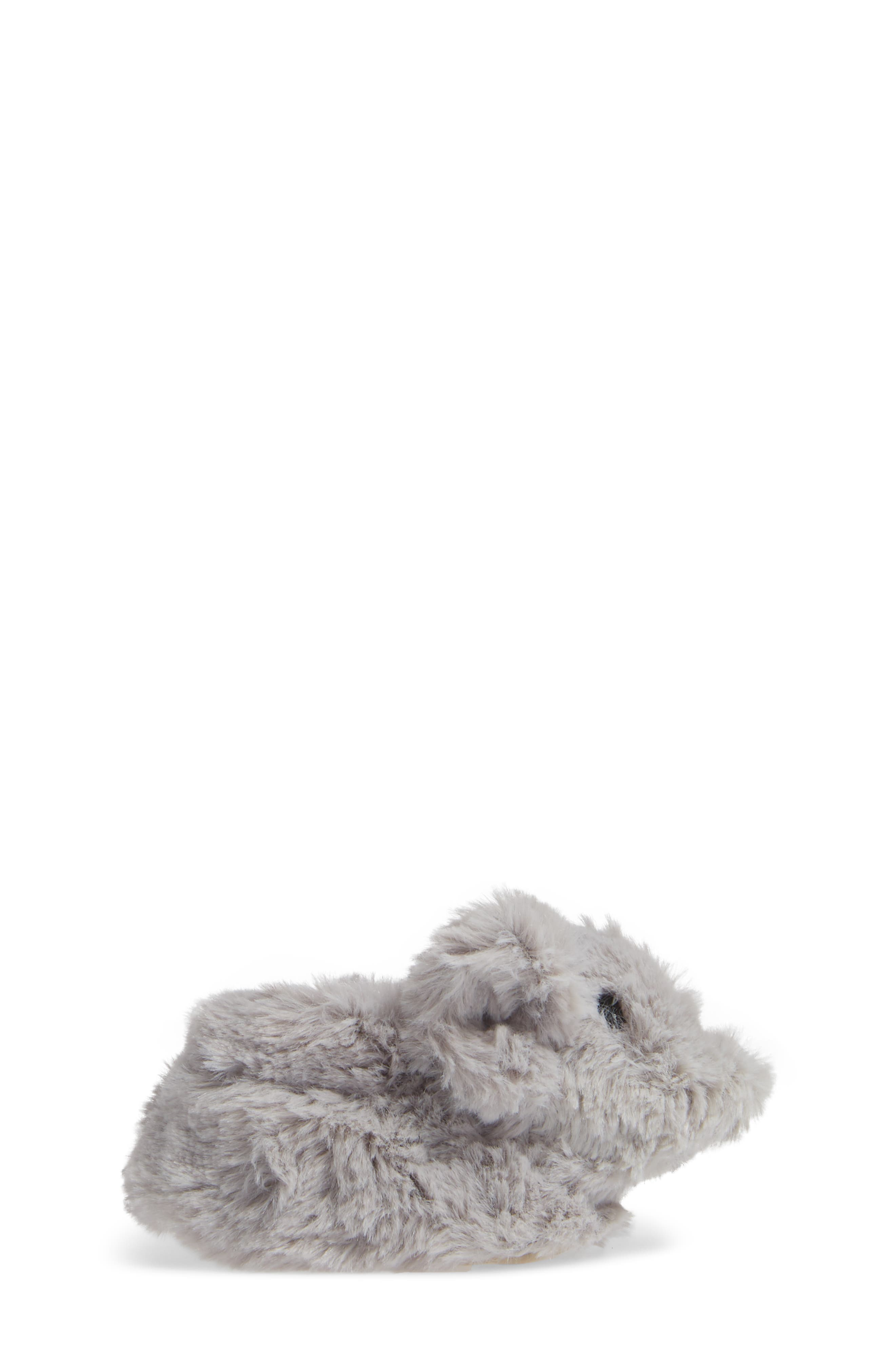 Faux Fur Animal Slipper,                             Alternate thumbnail 3, color,                             GREY ELEPHANT