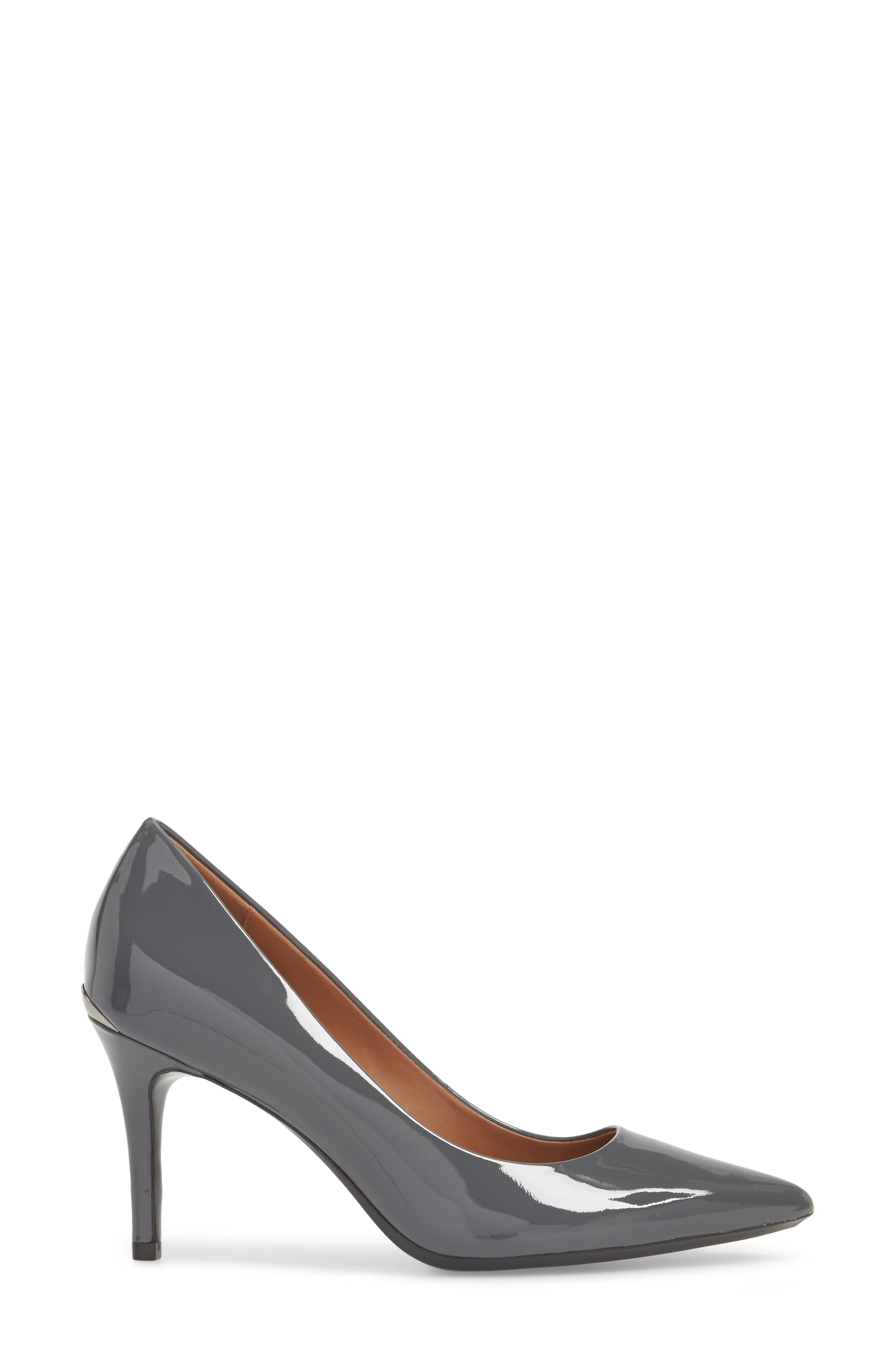 'Gayle' Pointy Toe Pump,                             Alternate thumbnail 3, color,                             STEEL GREYSTONE LEATHER