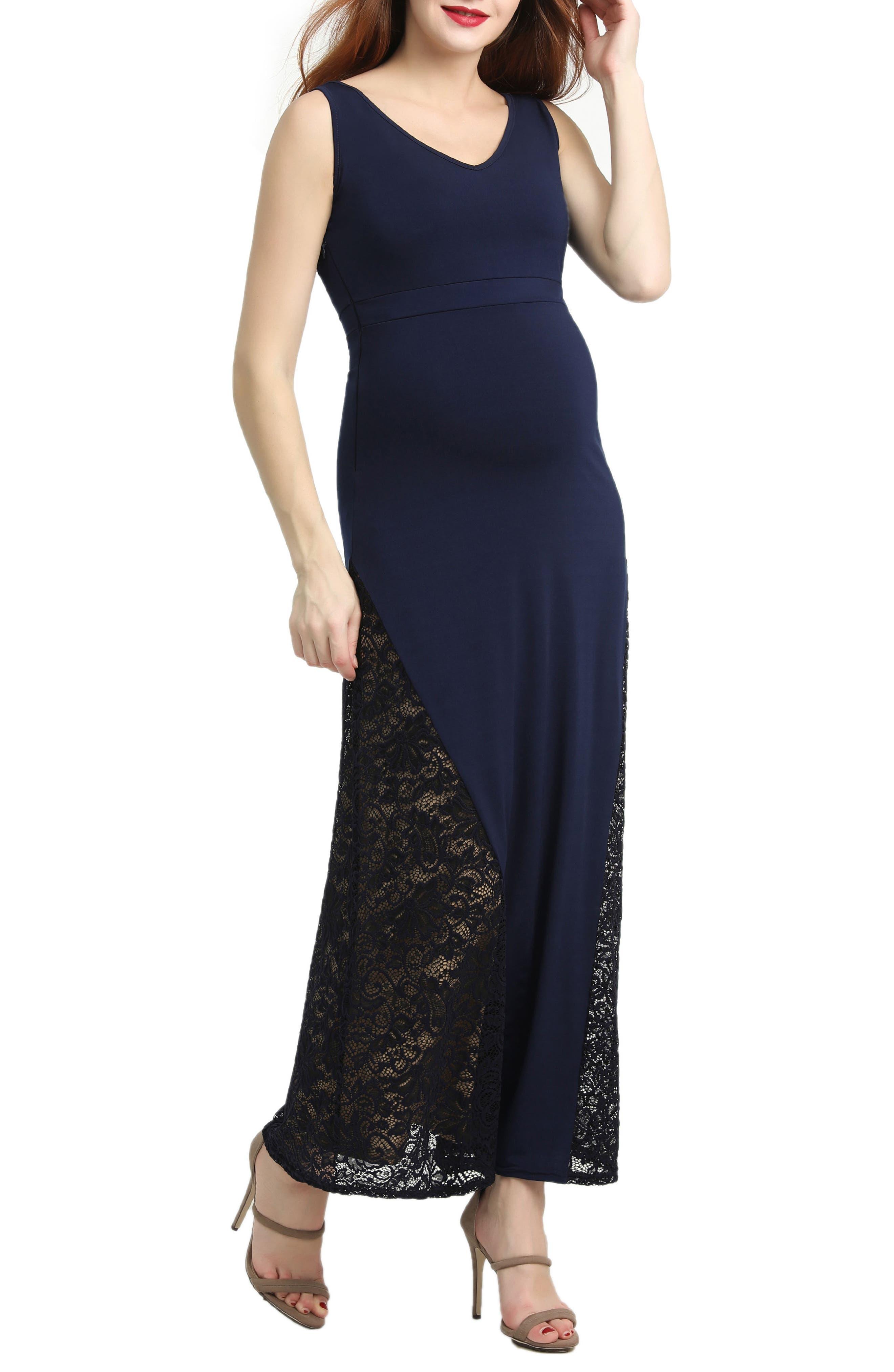 Kimi And Kai Elizabeth Lace Maternity Maxi Dress, Blue
