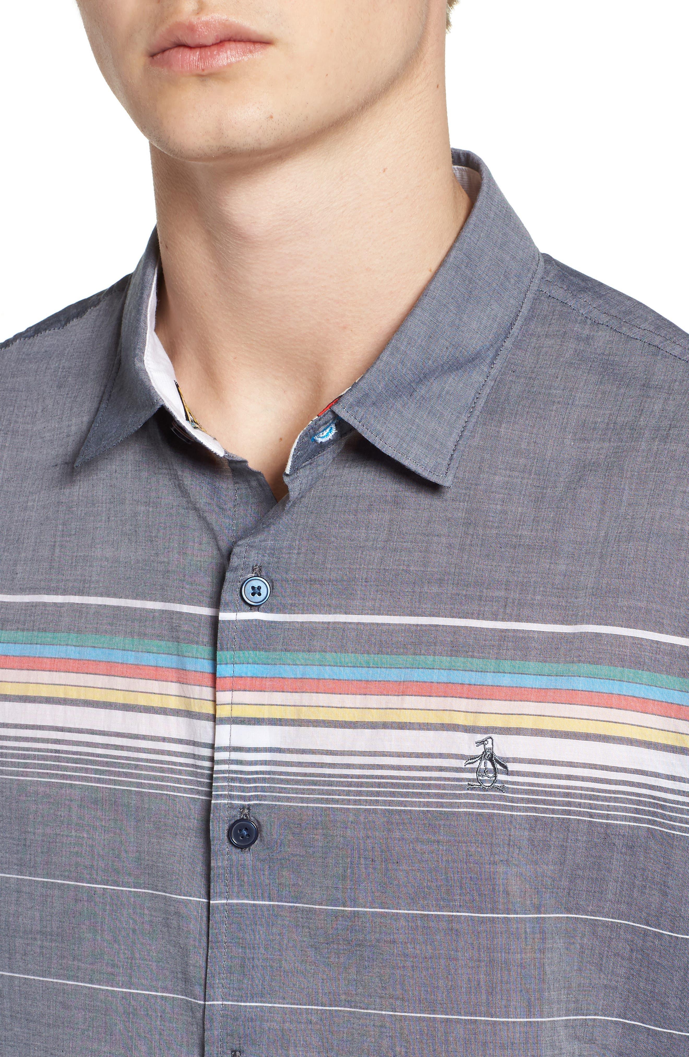 Engineered Stripe Woven Shirt,                             Alternate thumbnail 4, color,                             413