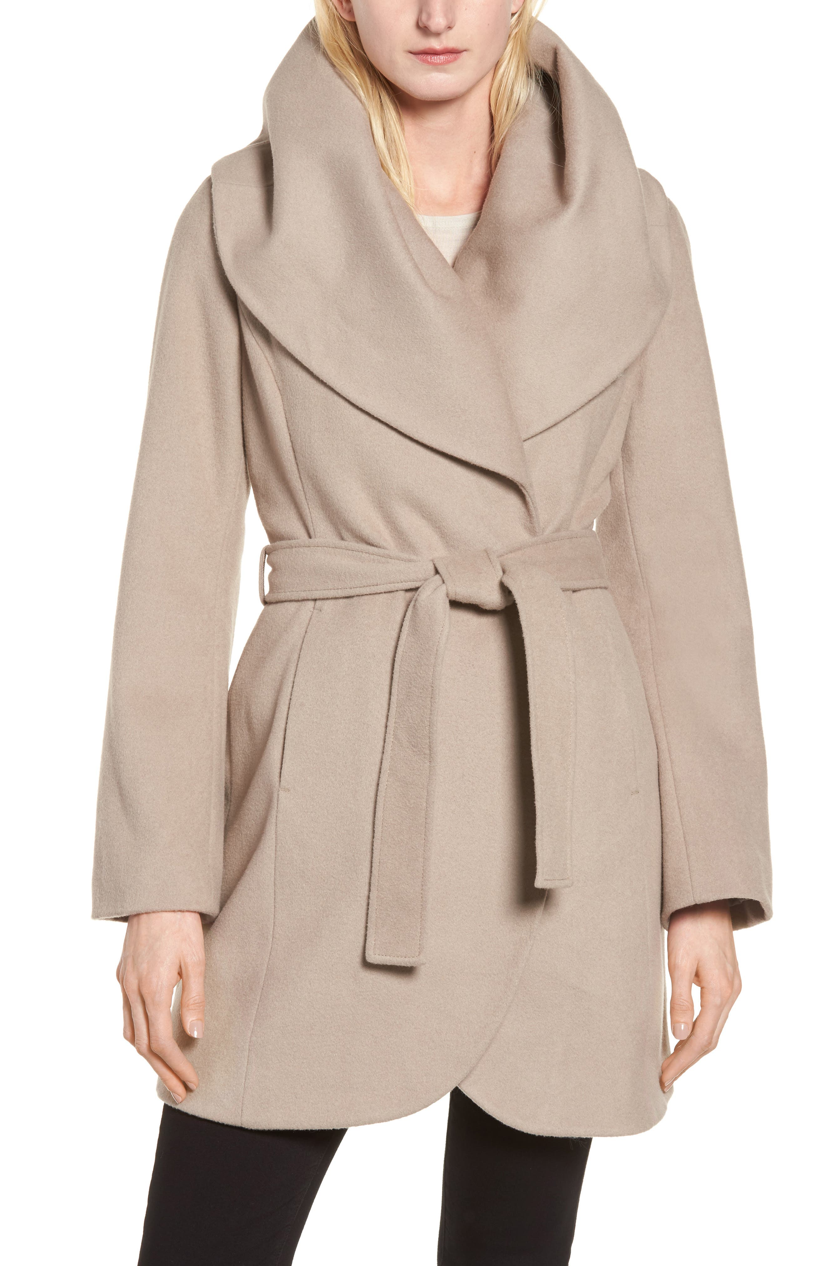 T Tahari Wool Blend Belted Wrap Coat,                             Main thumbnail 3, color,