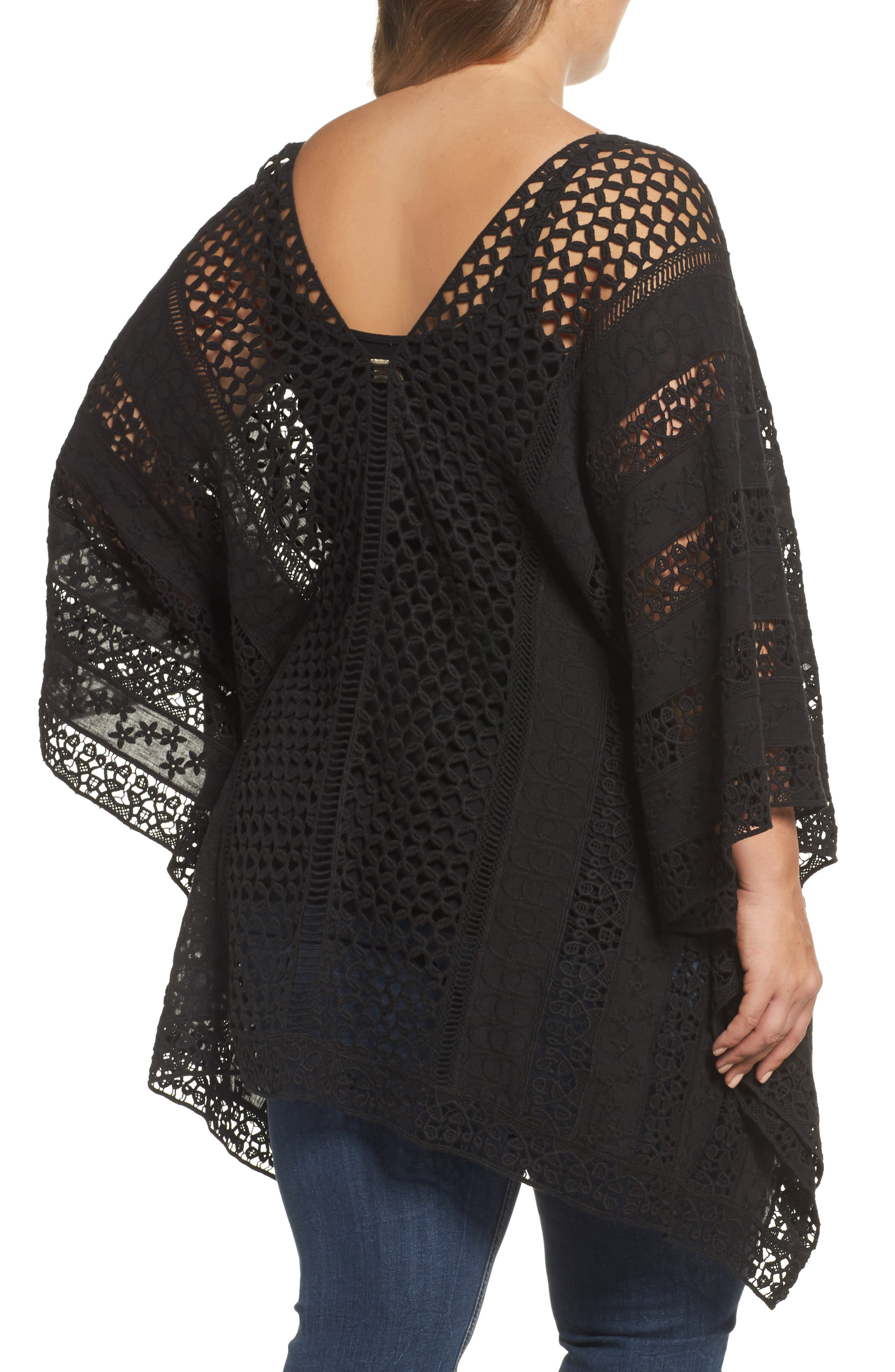 Jace Embroidered Cotton Poncho,                             Alternate thumbnail 2, color,                             001