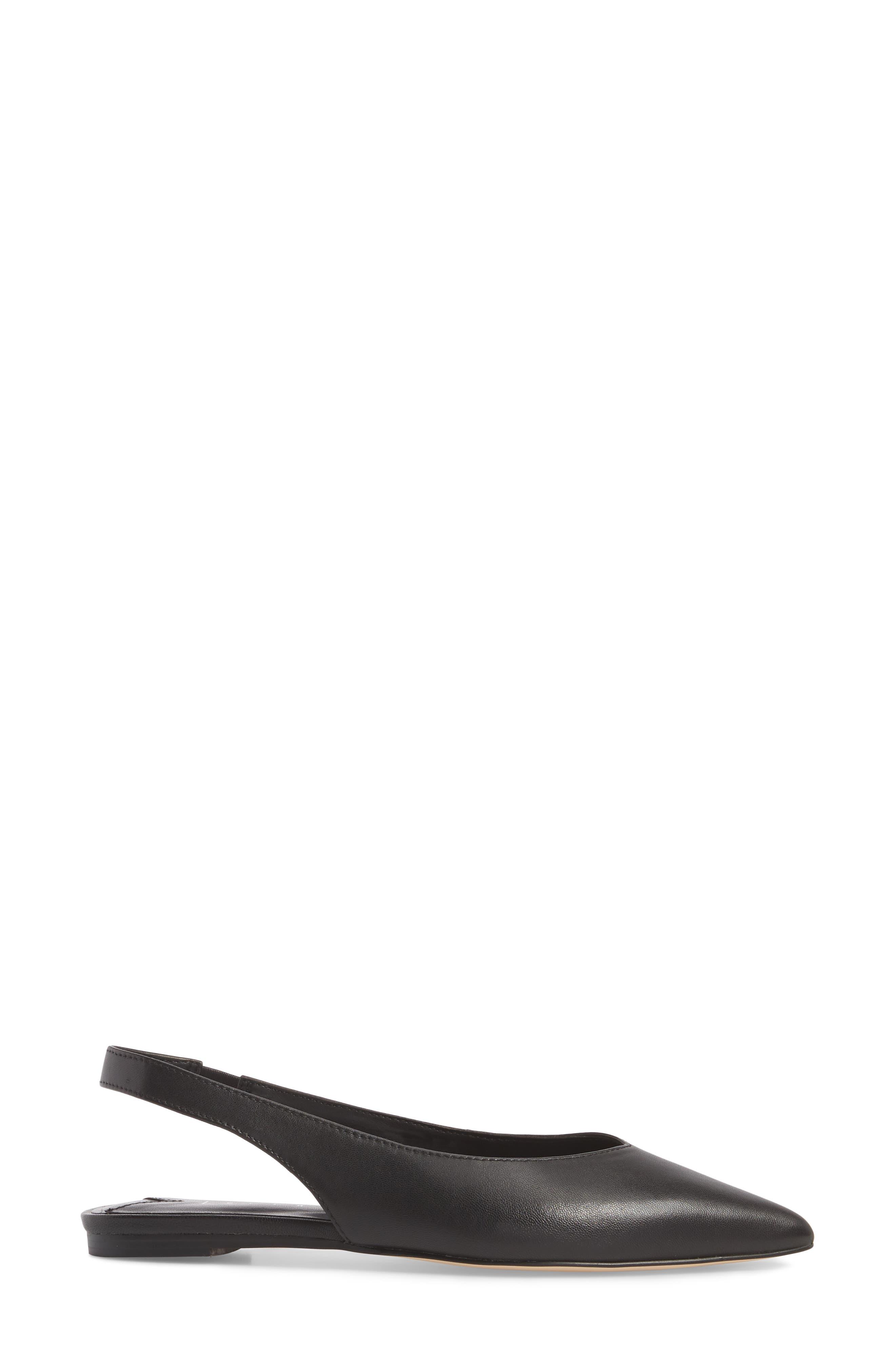 Masonn Slingback Flat,                             Alternate thumbnail 3, color,                             BLACK LEATHER