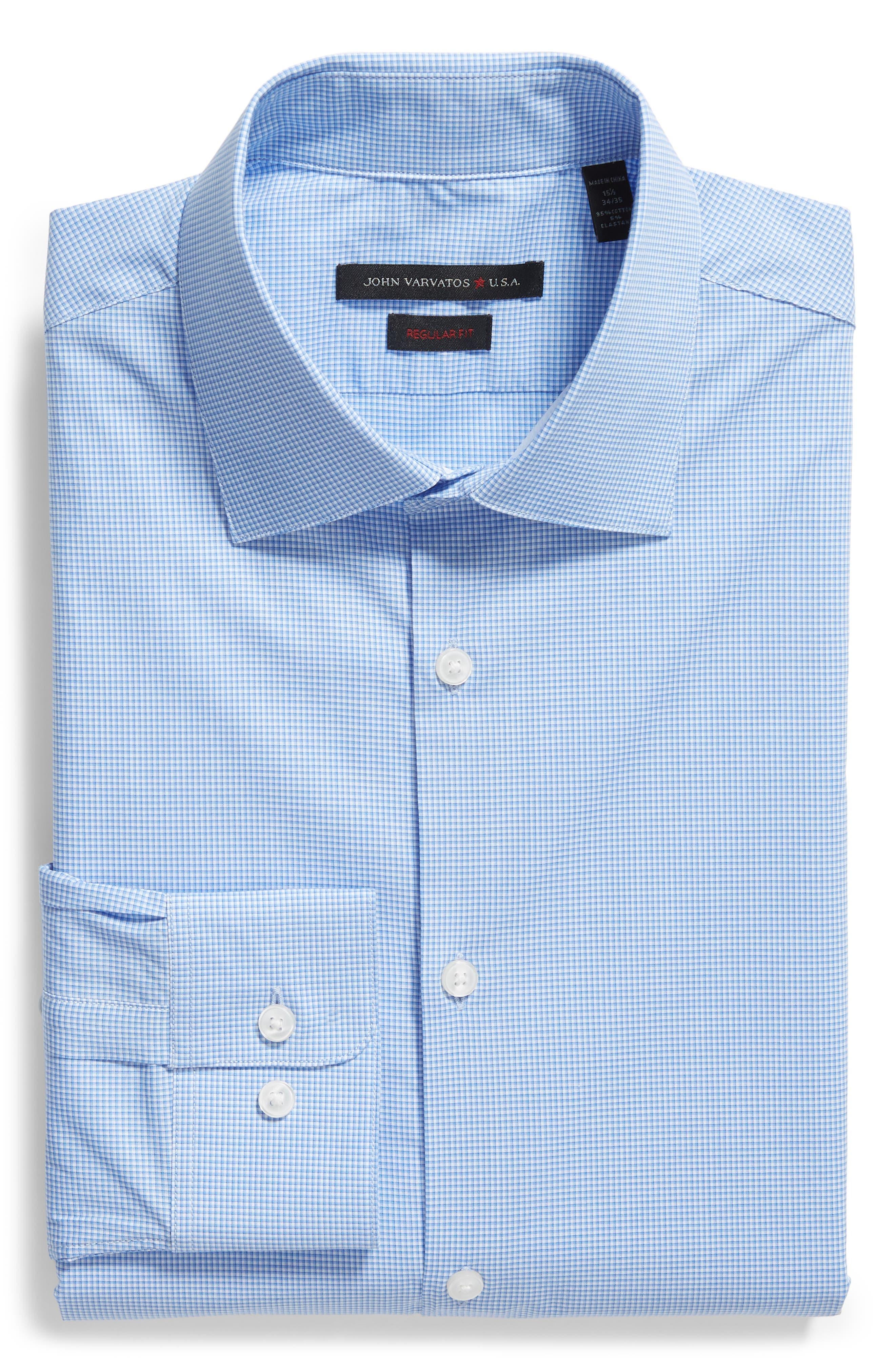 Microcheck Regular Fit Dress Shirt,                             Alternate thumbnail 5, color,                             OCEAN BLUE