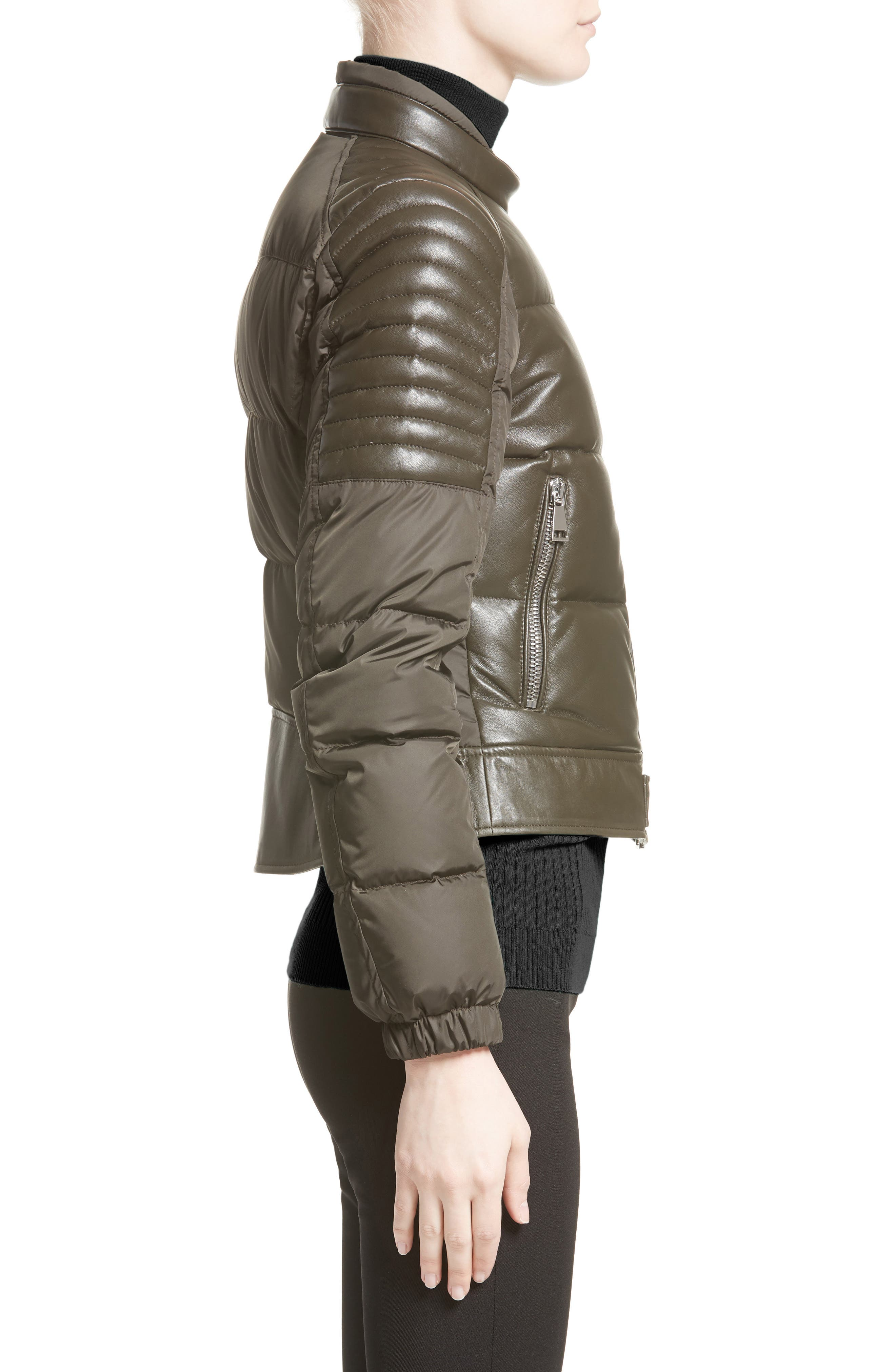 Clematis Leather Trim Down Puffer Jacket,                             Alternate thumbnail 3, color,                             307