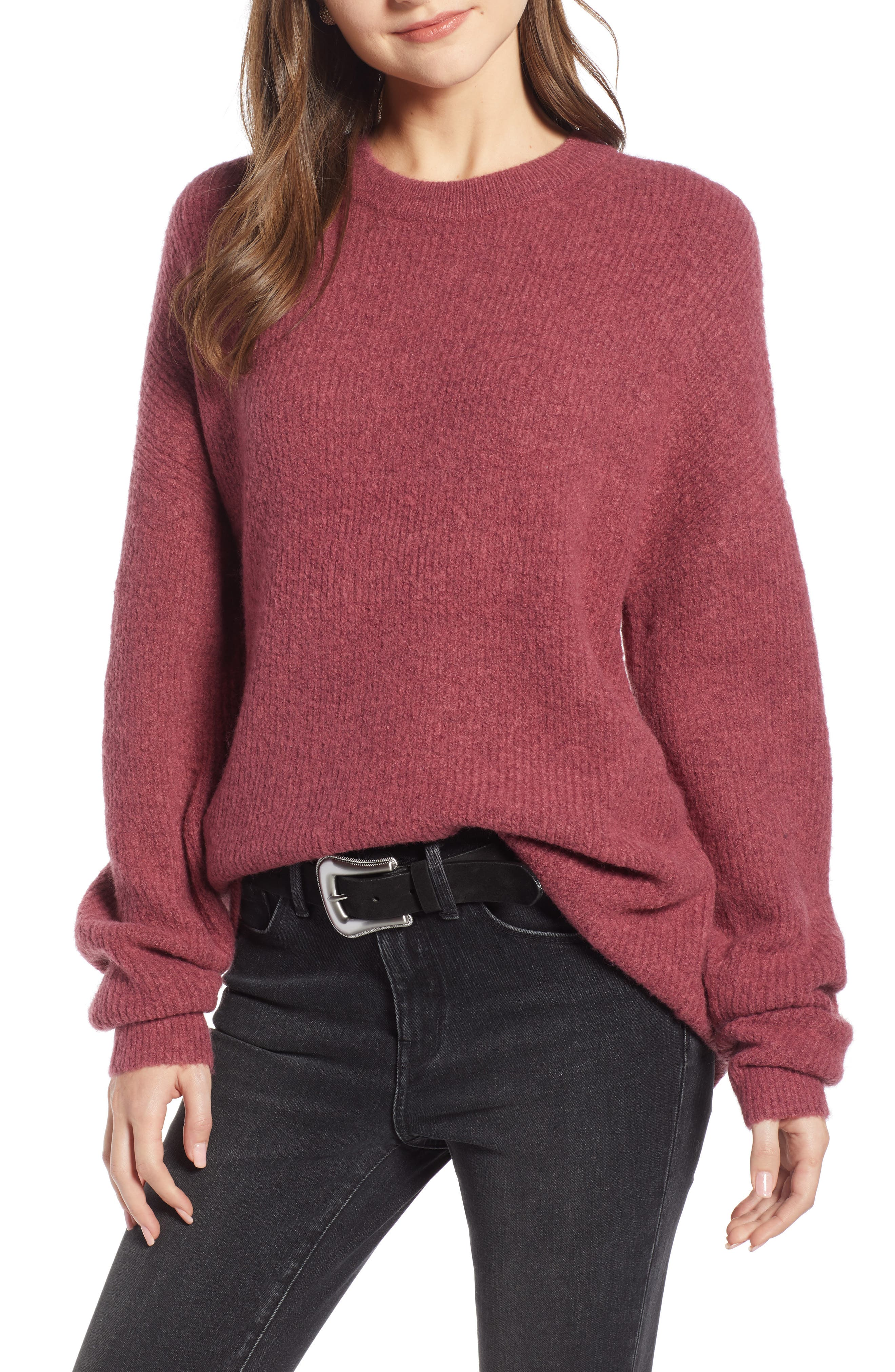 Fuzzy Oversize Sweater,                             Main thumbnail 1, color,                             BURGUNDY THORN
