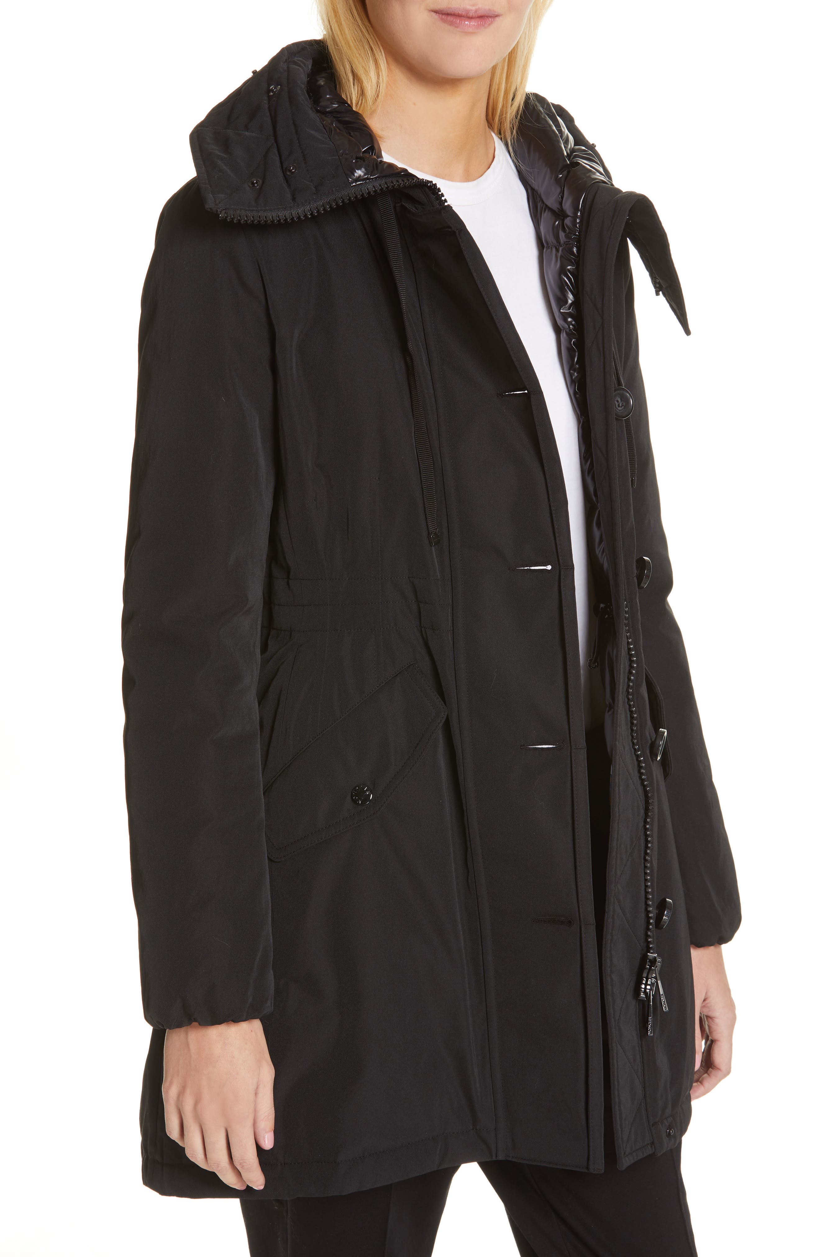 Monticole Hooded Down Coat with Removable Genuine Fox Fur Trim,                             Alternate thumbnail 2, color,                             BLACK