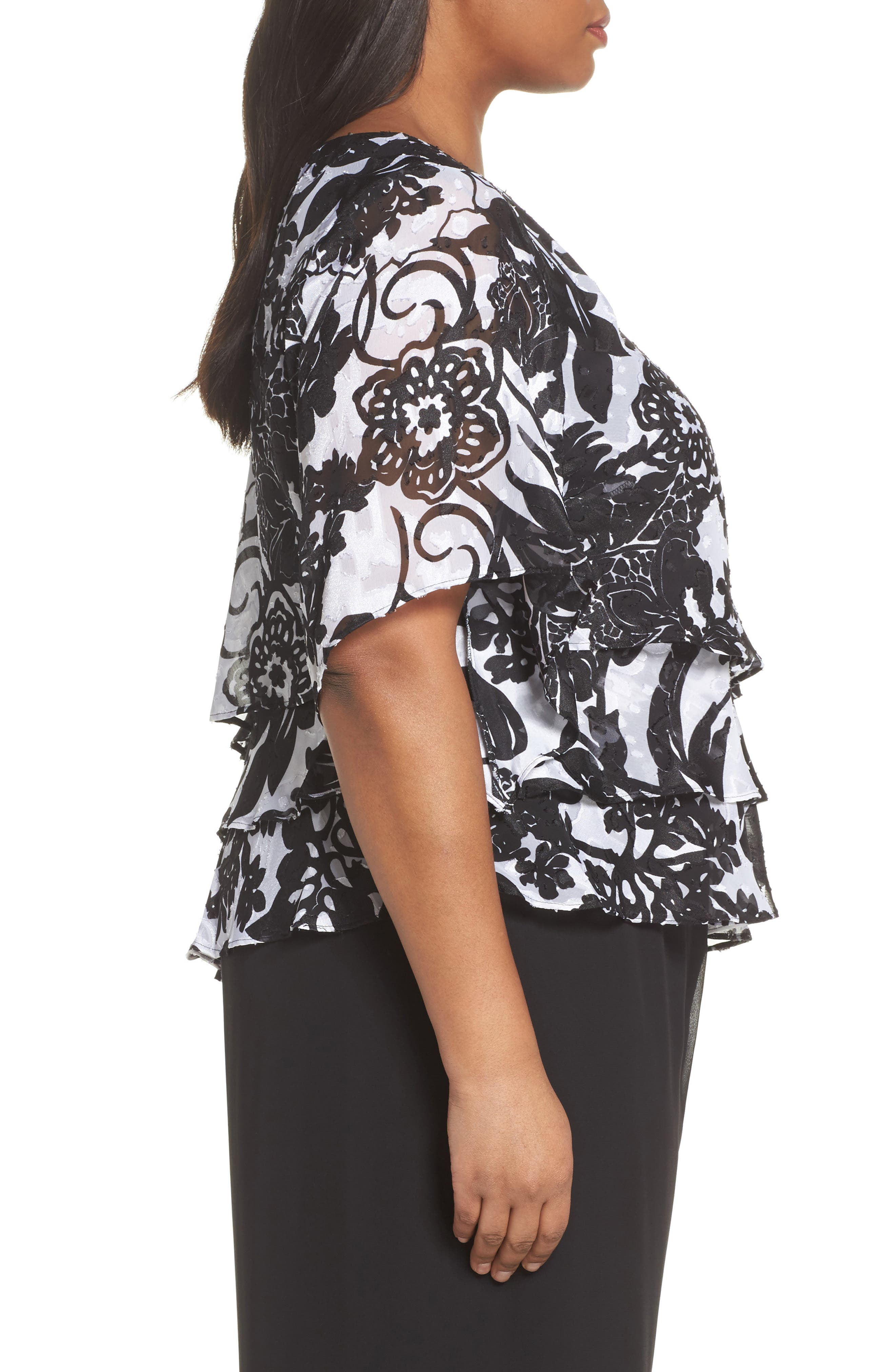 Print Tiered Blouse,                             Alternate thumbnail 7, color,