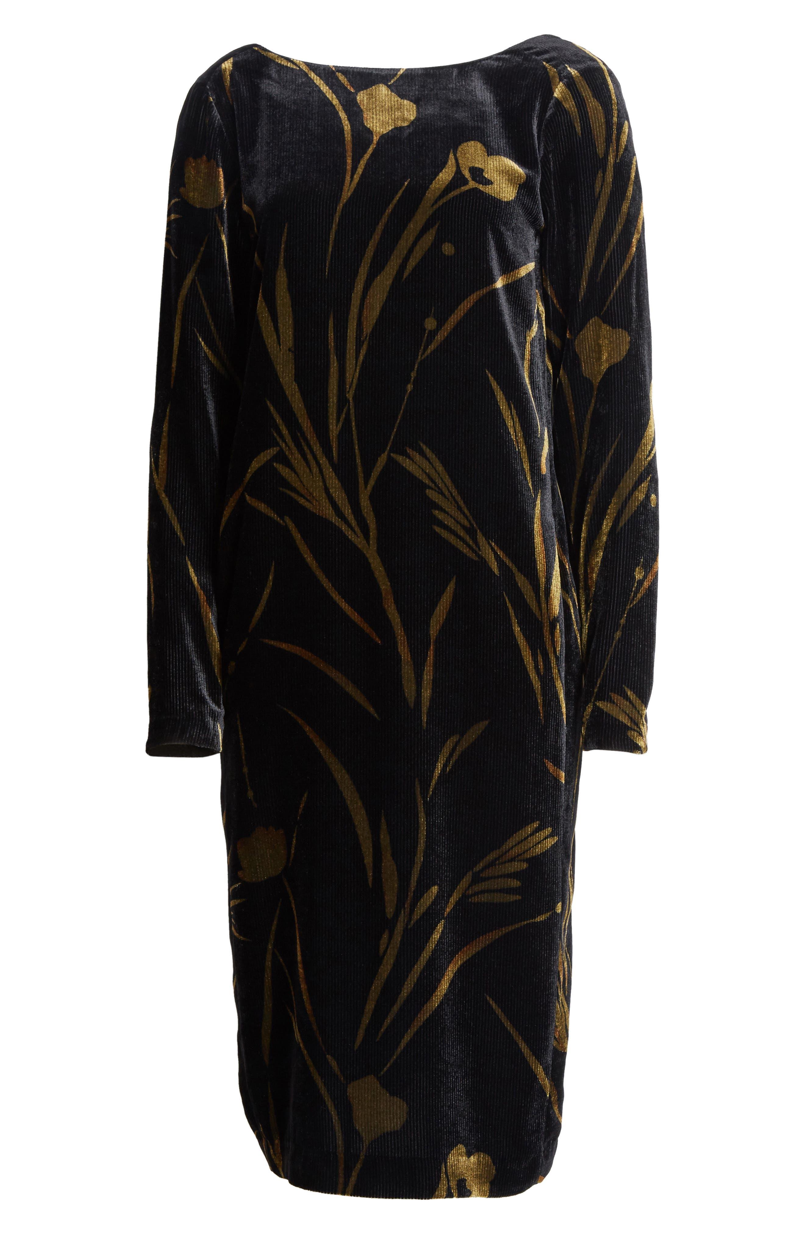 Loribel Golden Bloom Velvet Dress,                             Alternate thumbnail 6, color,