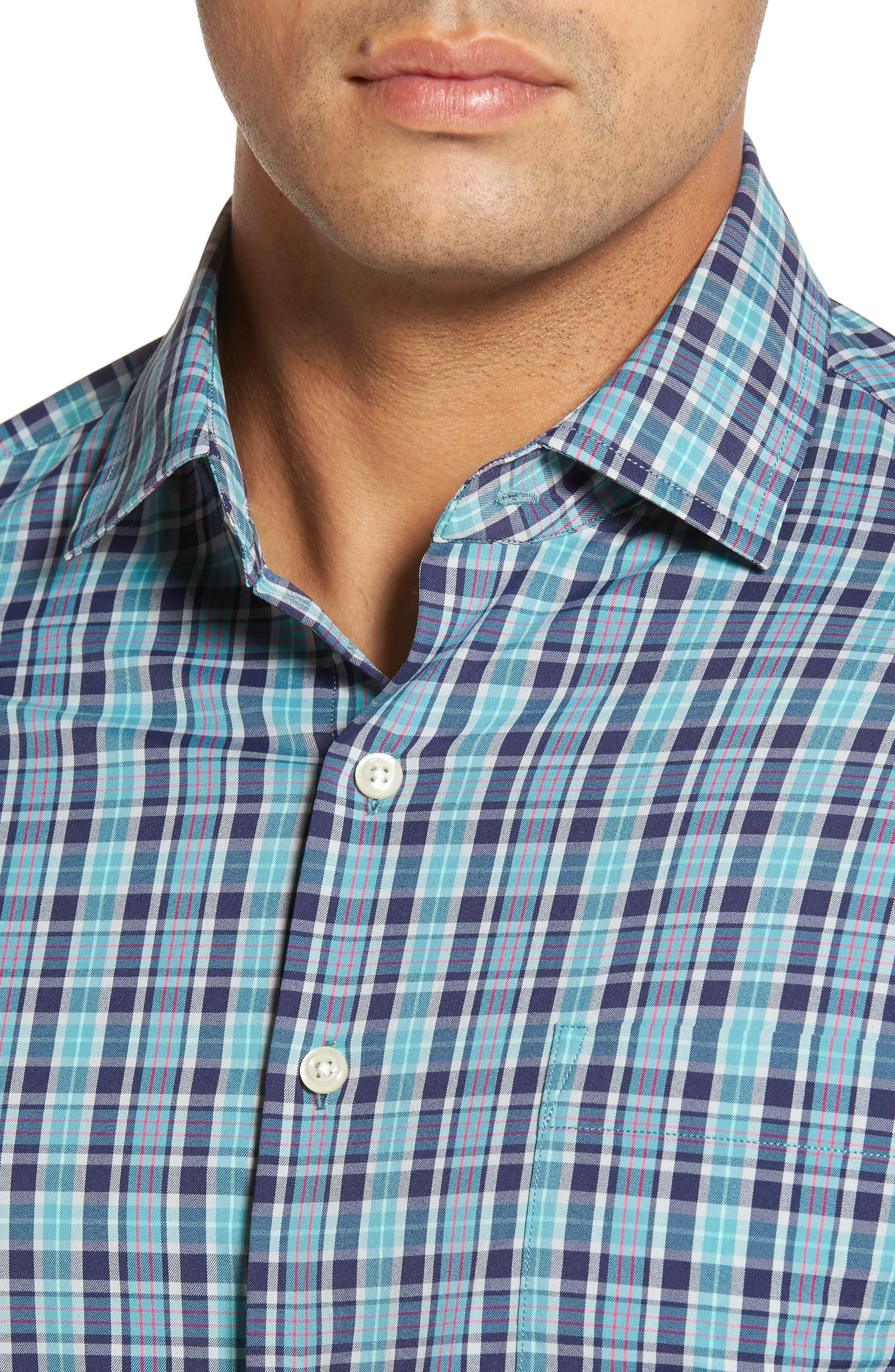 Sutter Athletic Fit Check Performance Sport Shirt,                             Alternate thumbnail 4, color,                             398