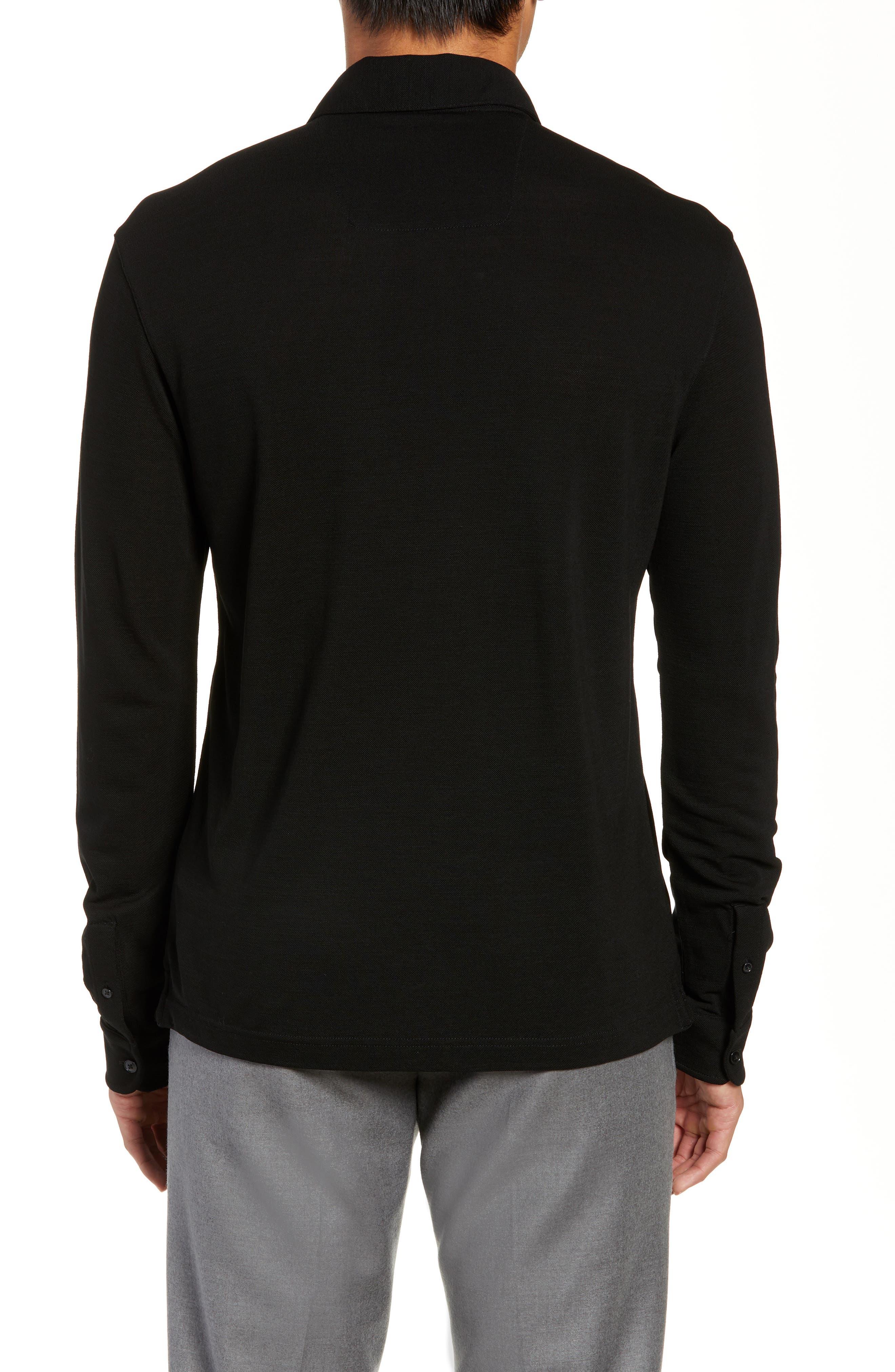 Trim Fit Wool Long Sleeve Polo Shirt,                             Alternate thumbnail 2, color,                             BLACK