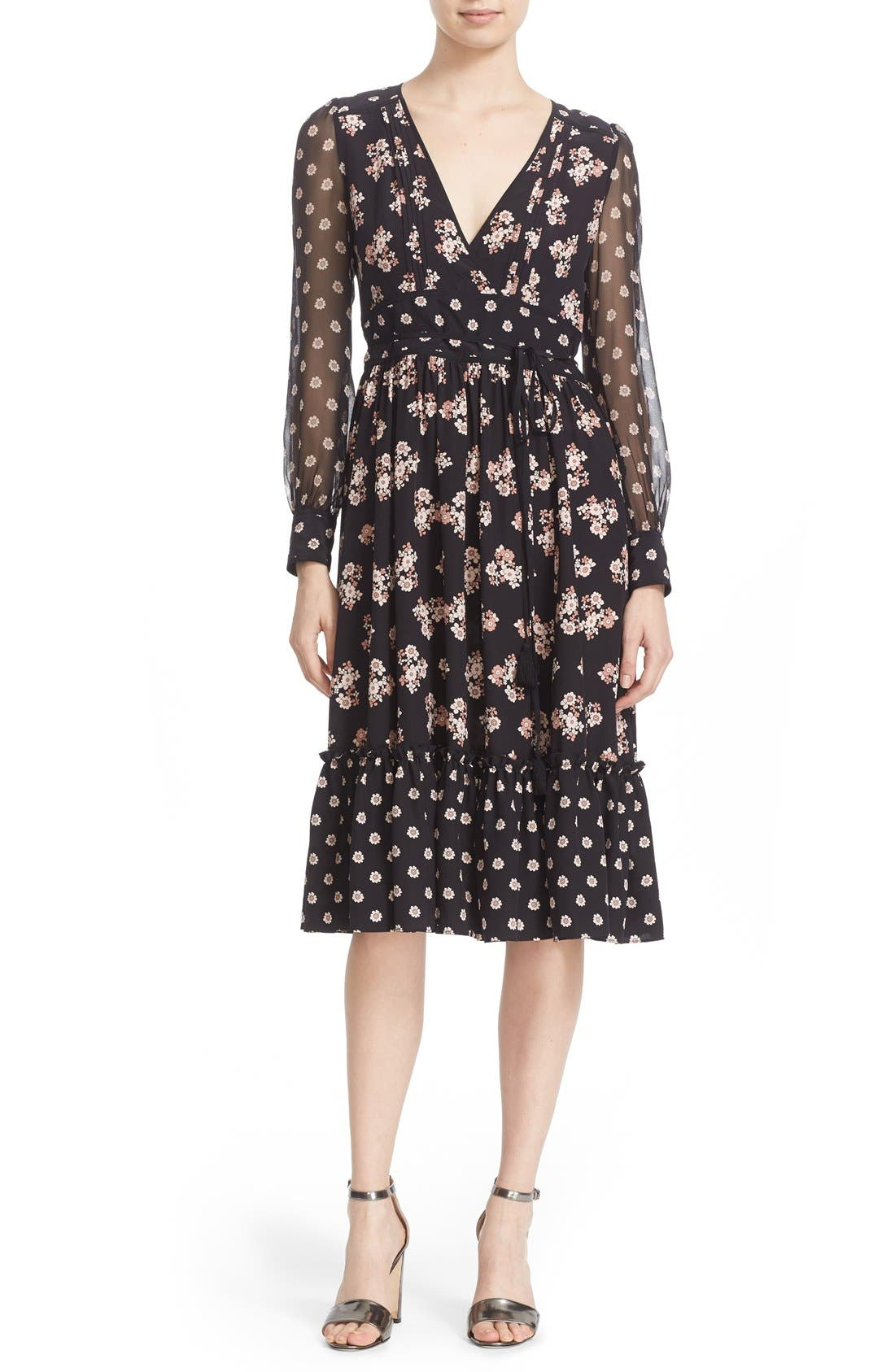 ditsy print silk midi dress,                             Main thumbnail 1, color,                             001