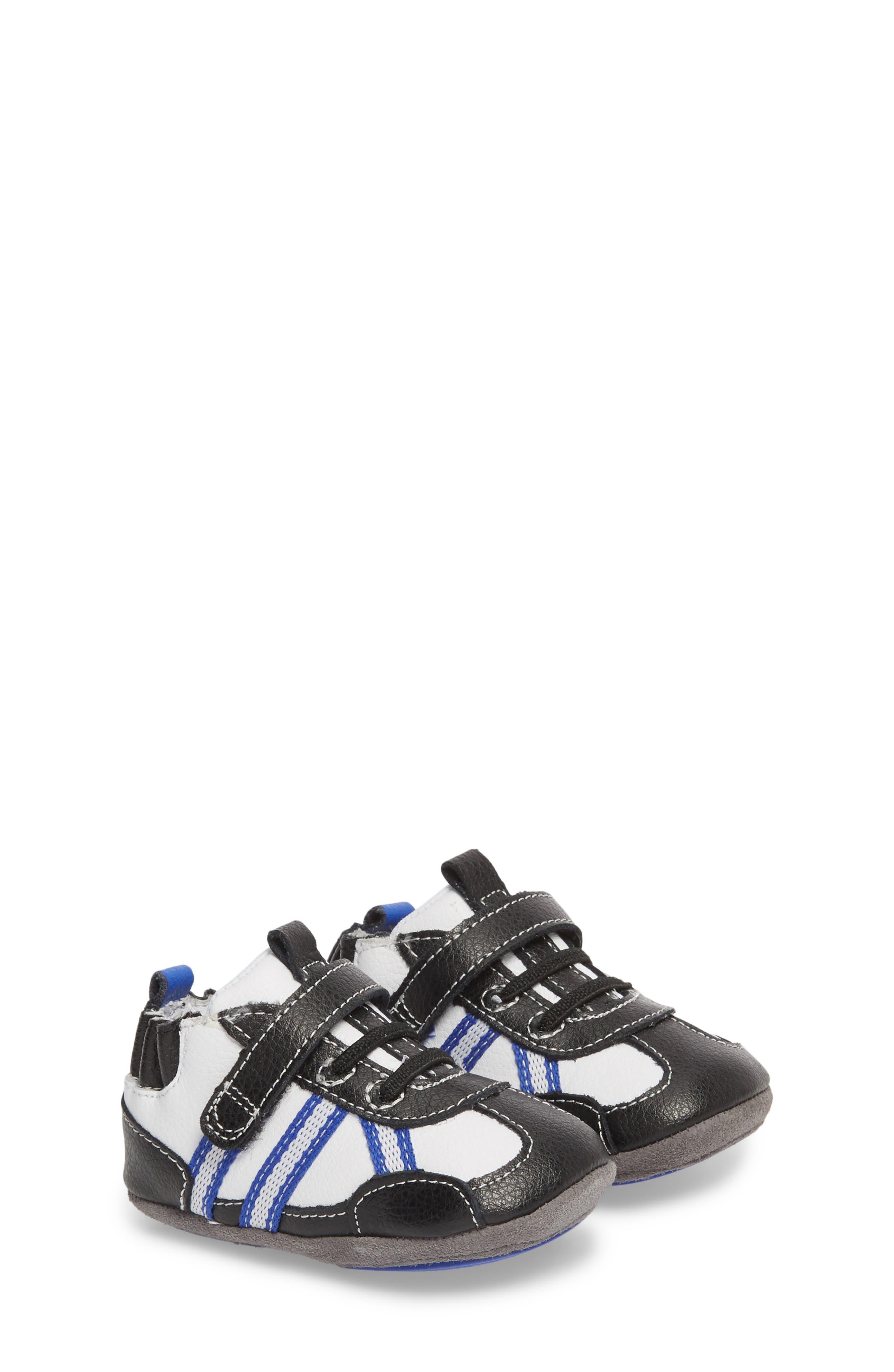 Jogging Josh Slip-On Crib Sneaker,                         Main,                         color, BLACK