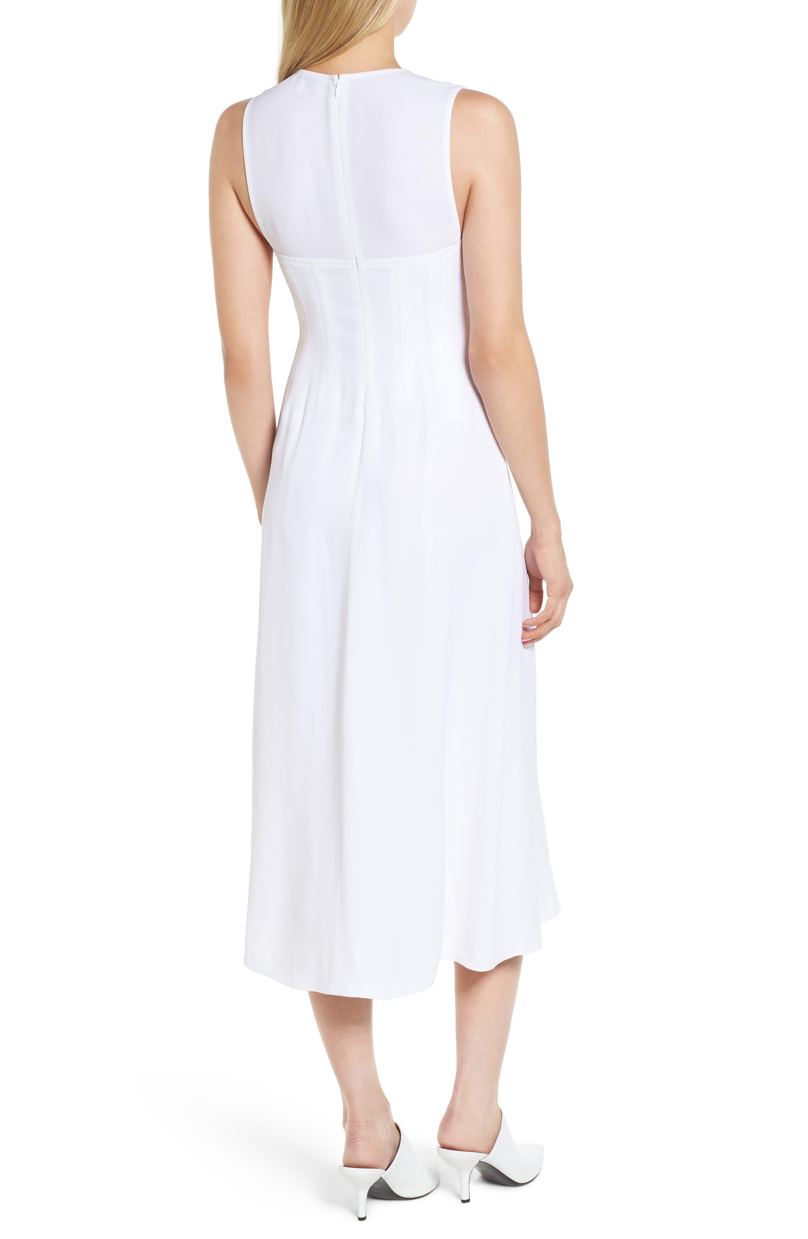 Corset Detail Midi Dress,                             Alternate thumbnail 2, color,                             100