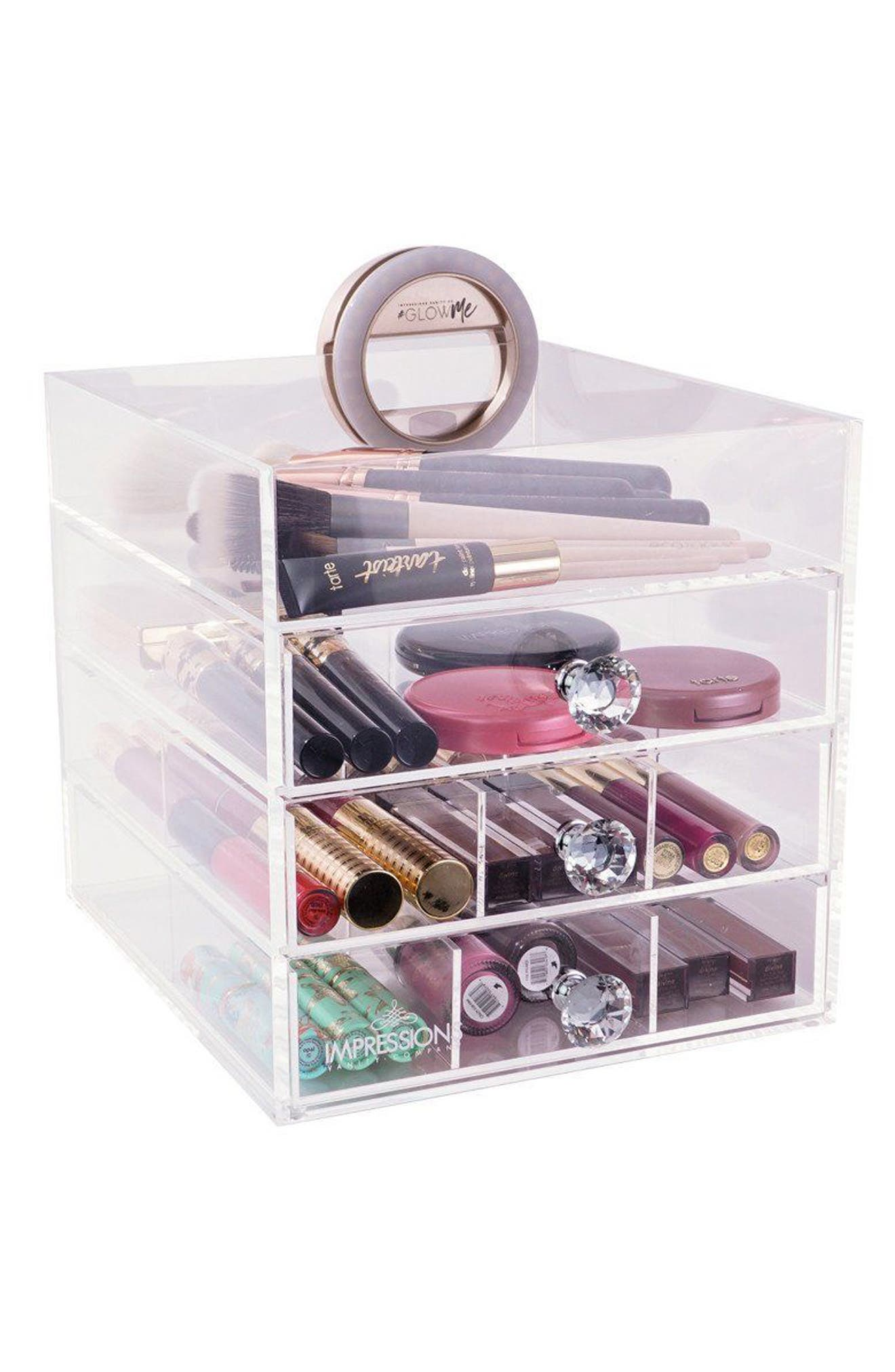 Diamond Collection 4-Drawer Acrylic Organizer,                             Alternate thumbnail 2, color,                             CLEAR