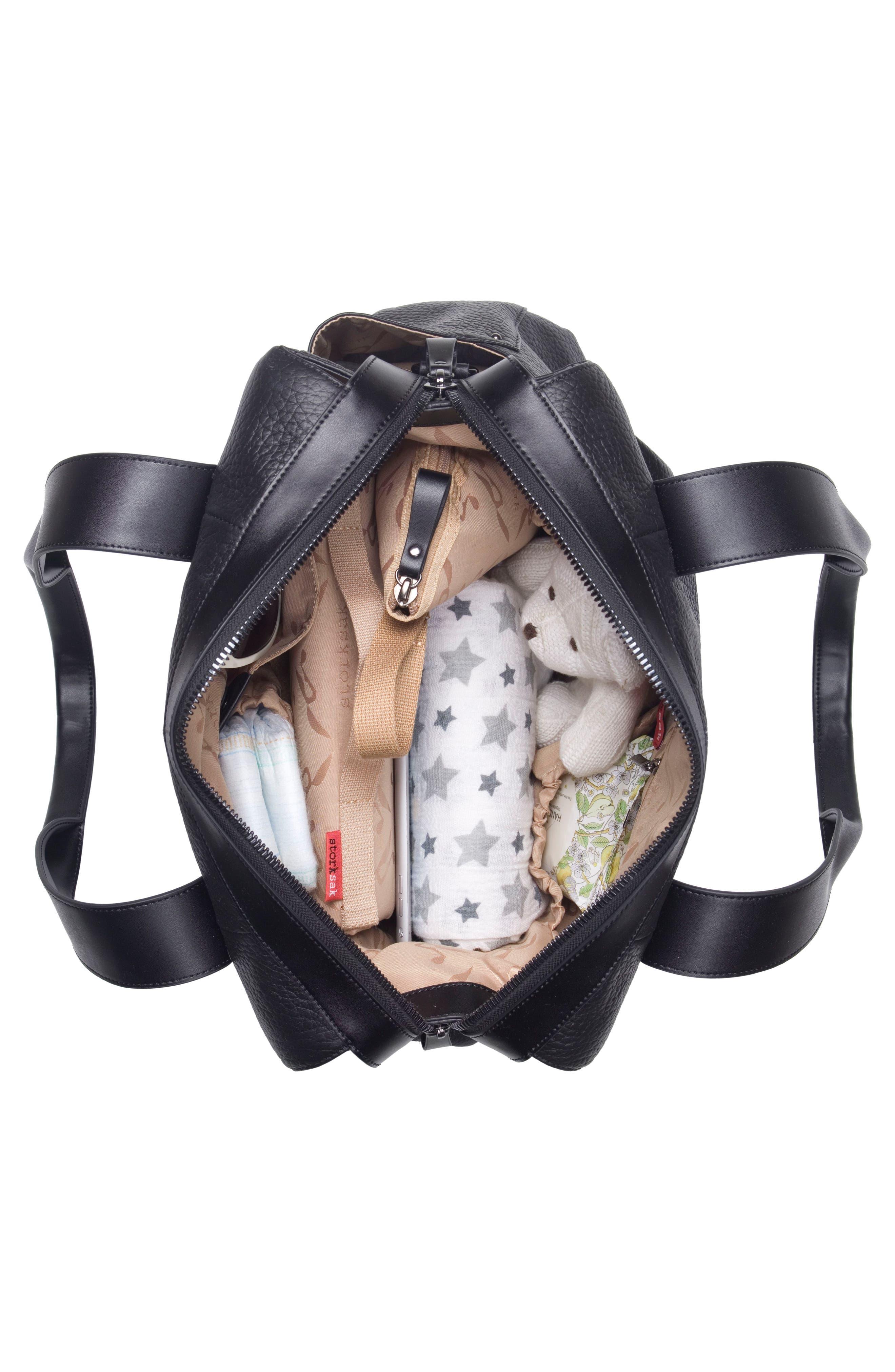 Kym Calfskin Leather Diaper Tote Bag,                             Alternate thumbnail 3, color,                             BLACK