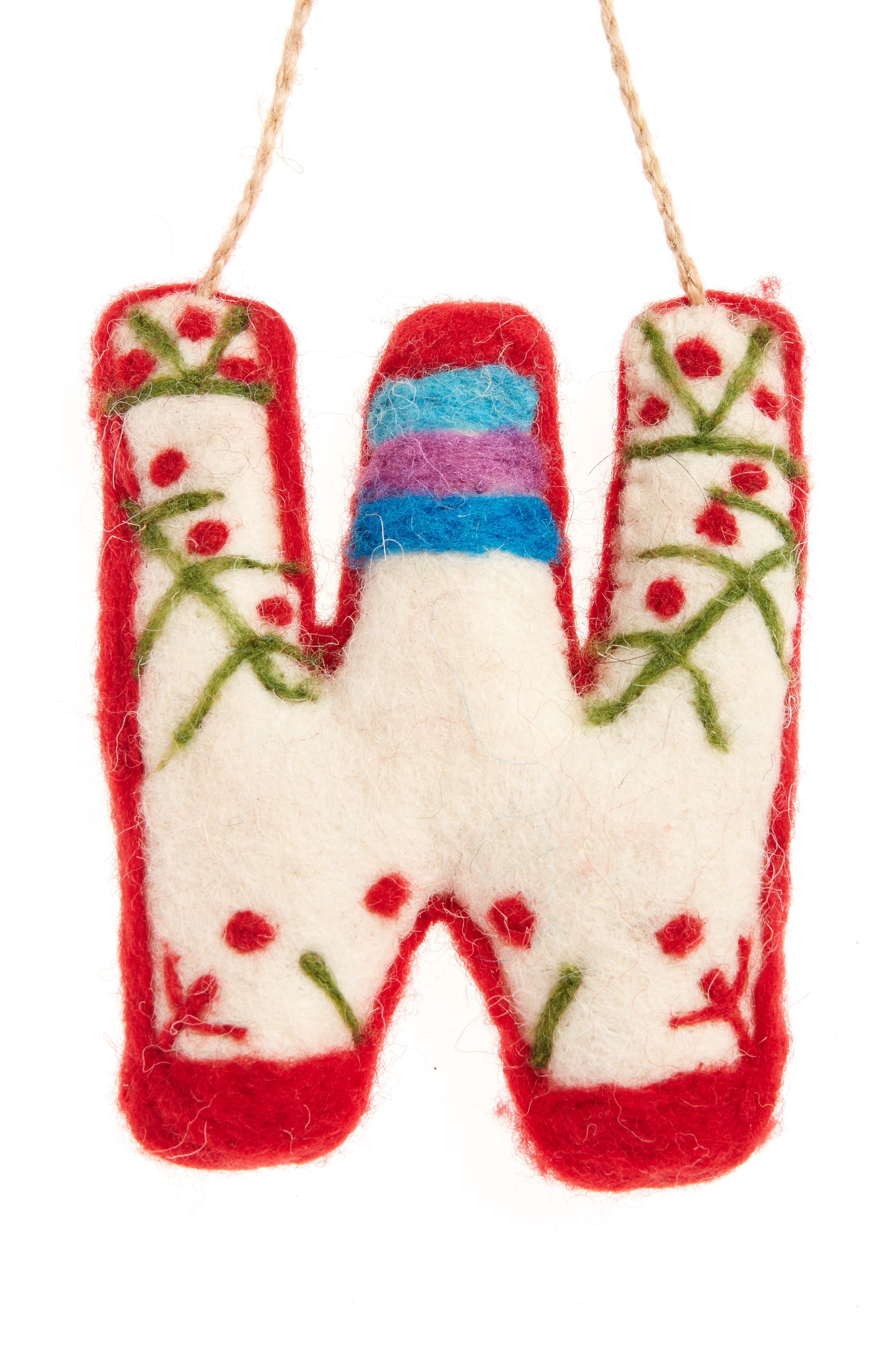 Global Folk Wool Monogram Ornament,                             Main thumbnail 23, color,