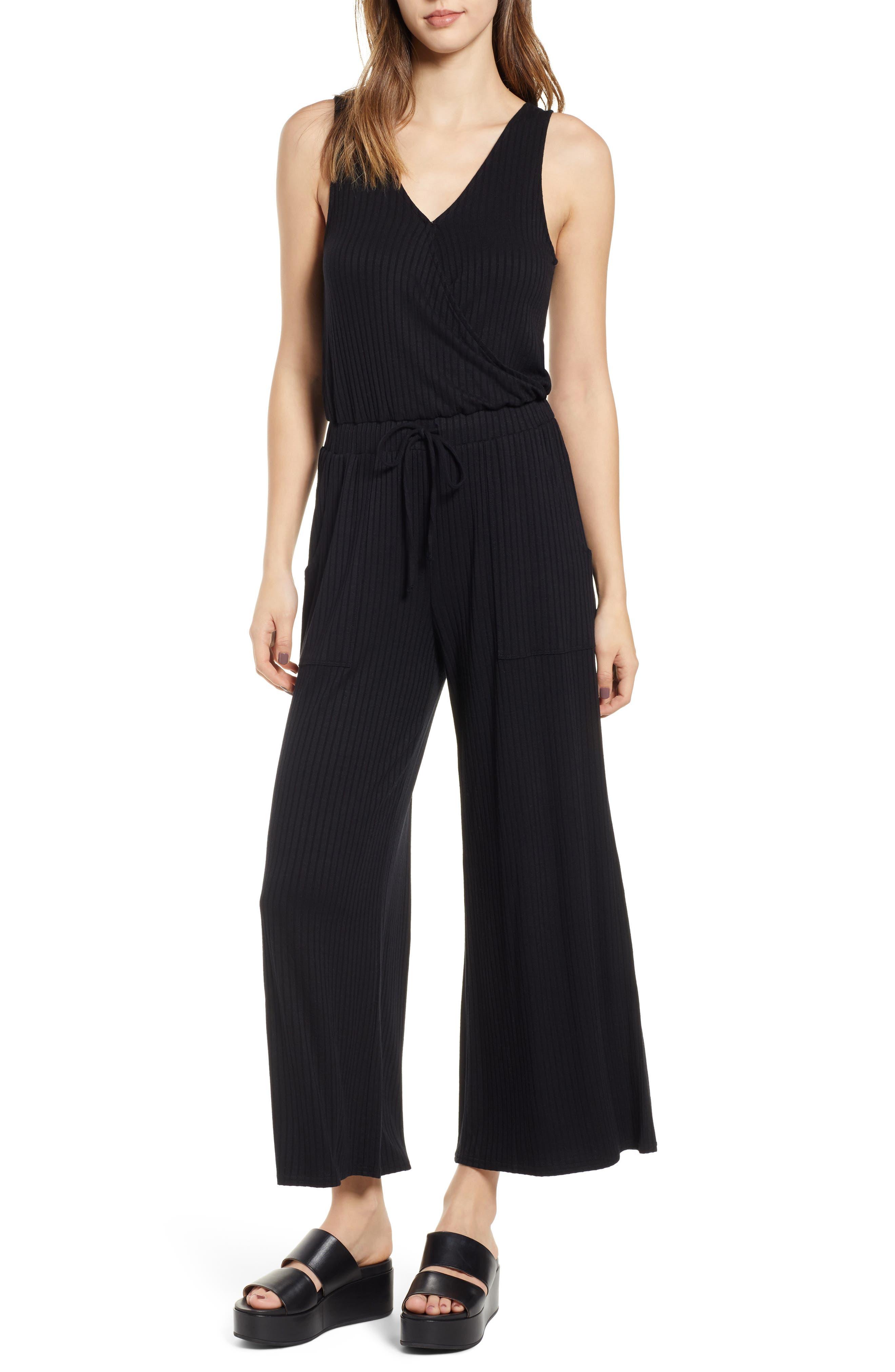 BP. Wide Leg Rib Jumpsuit, Main, color, BLACK