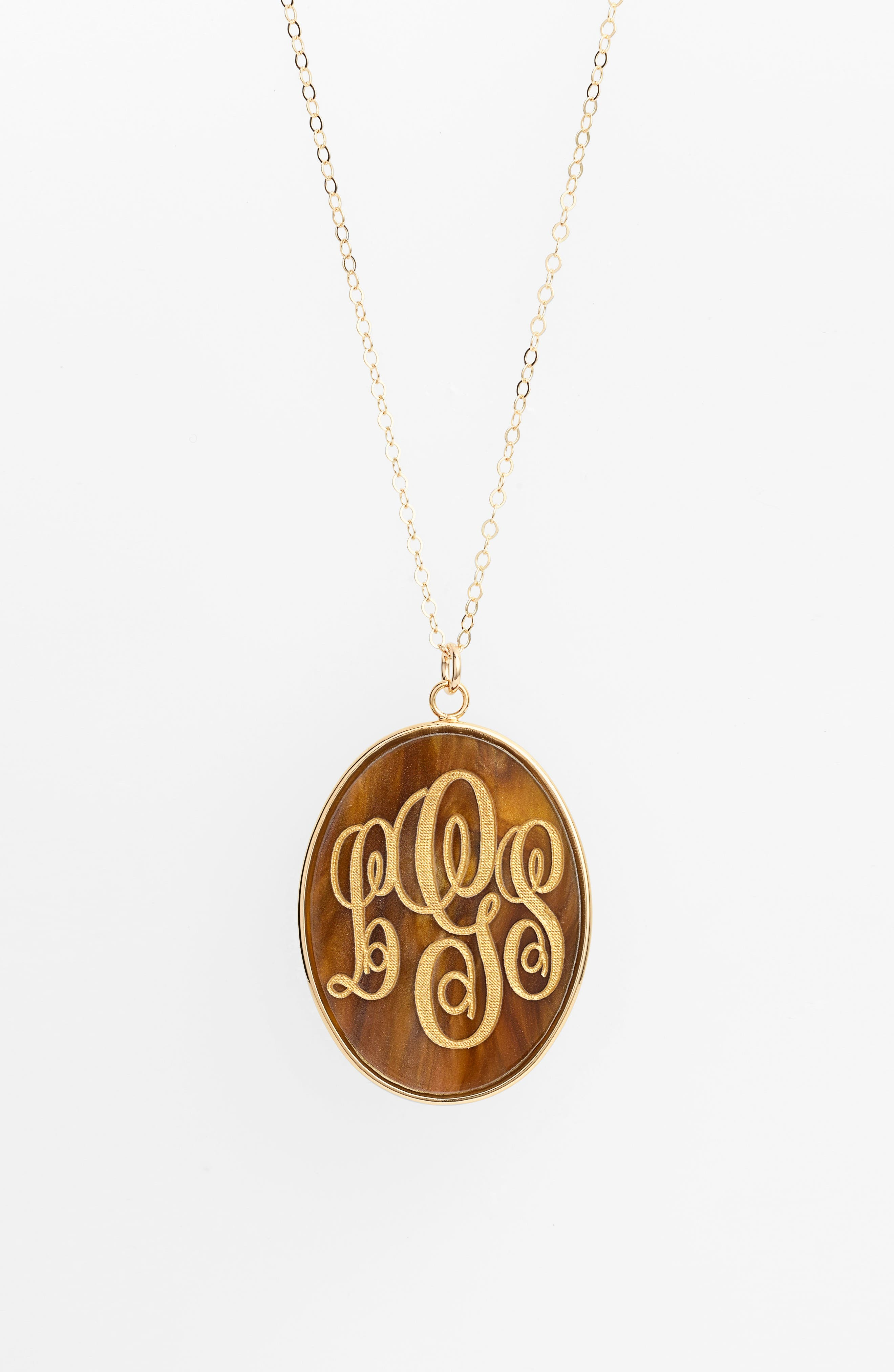 'Vineyard' Personalized Monogram Oval Pendant Necklace,                             Alternate thumbnail 4, color,                             TIGERS EYE