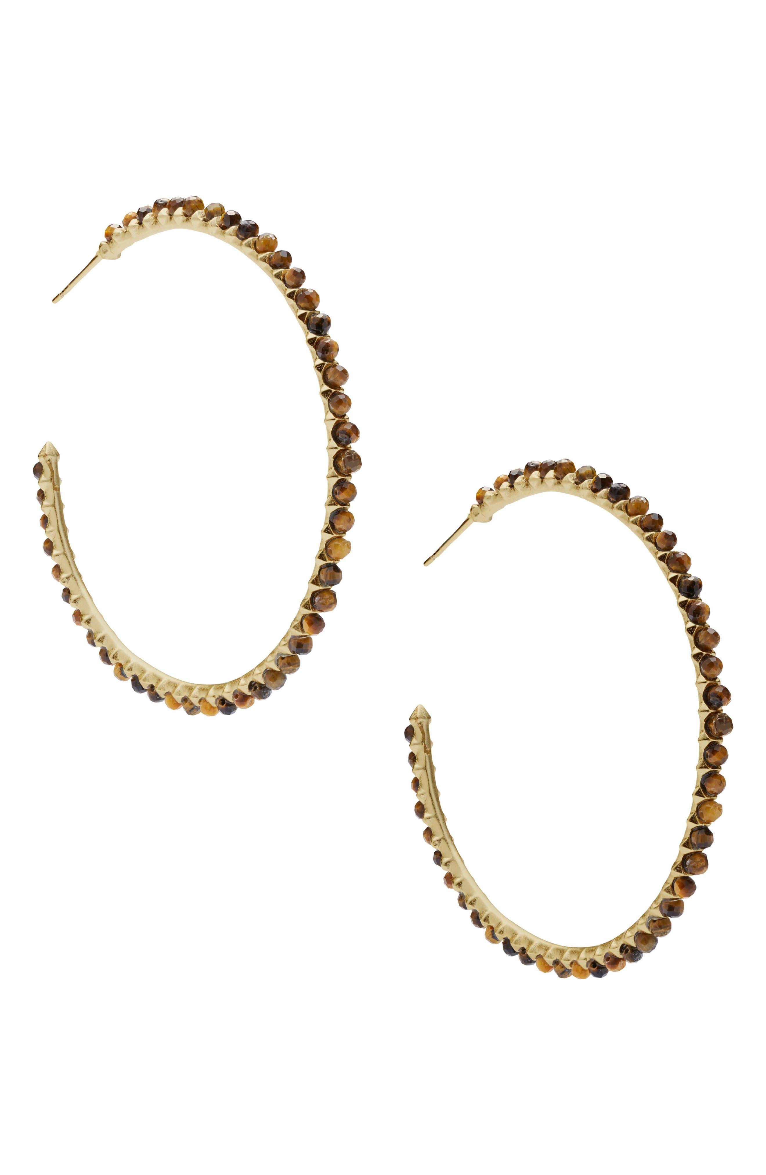 Birdie Earrings,                             Alternate thumbnail 3, color,                             BROWN TIGERS EYE/ GOLD