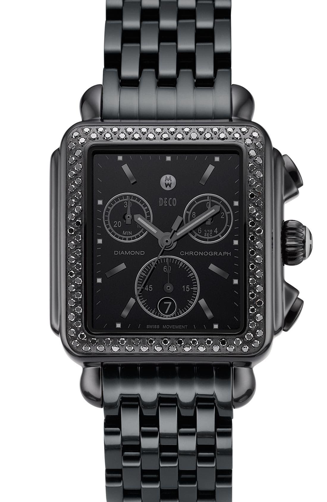 'Deco Noir' Diamond Watch Case,                             Alternate thumbnail 3, color,                             001