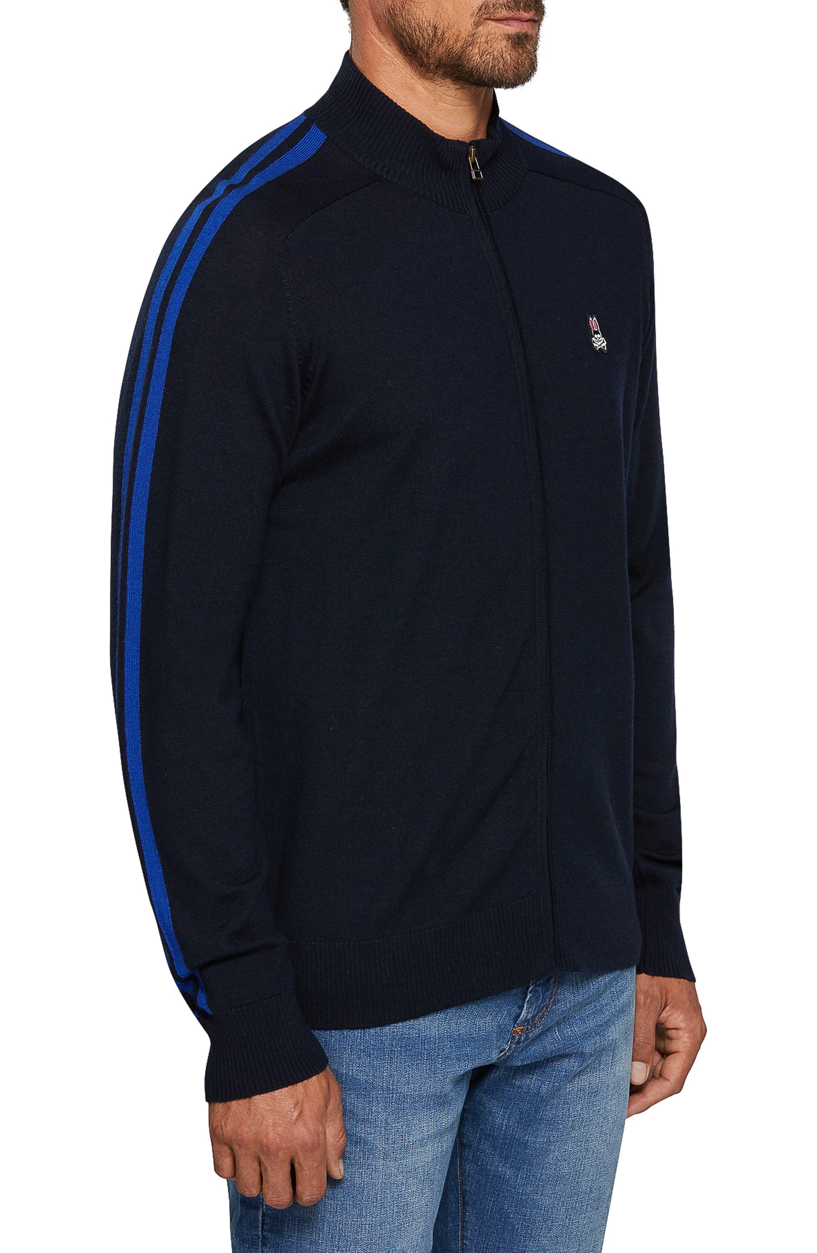 Zip Front Merino Sweater,                             Alternate thumbnail 3, color,                             NAVY