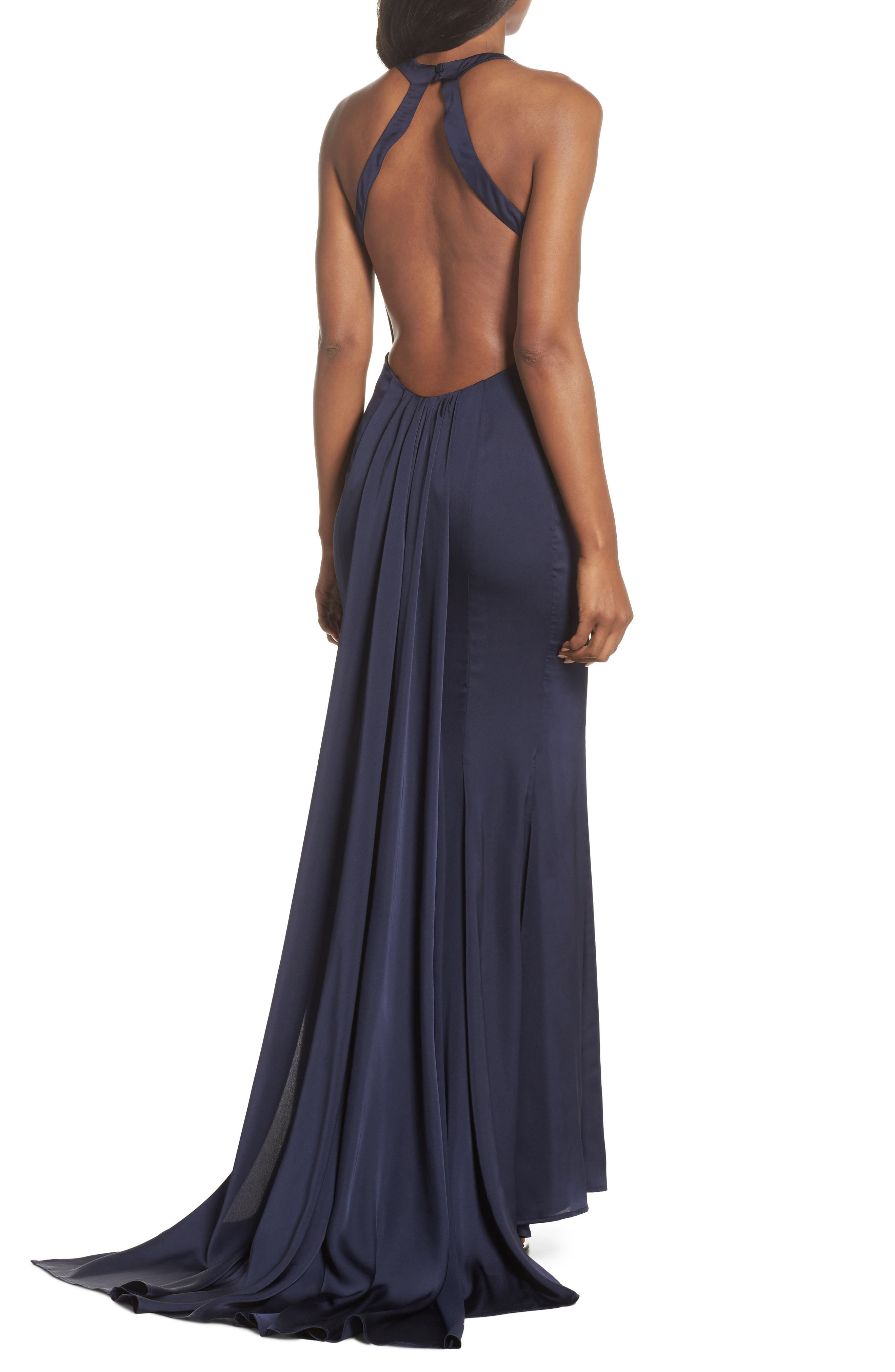 Blanche Open Back Gown,                             Alternate thumbnail 2, color,                             NAVY