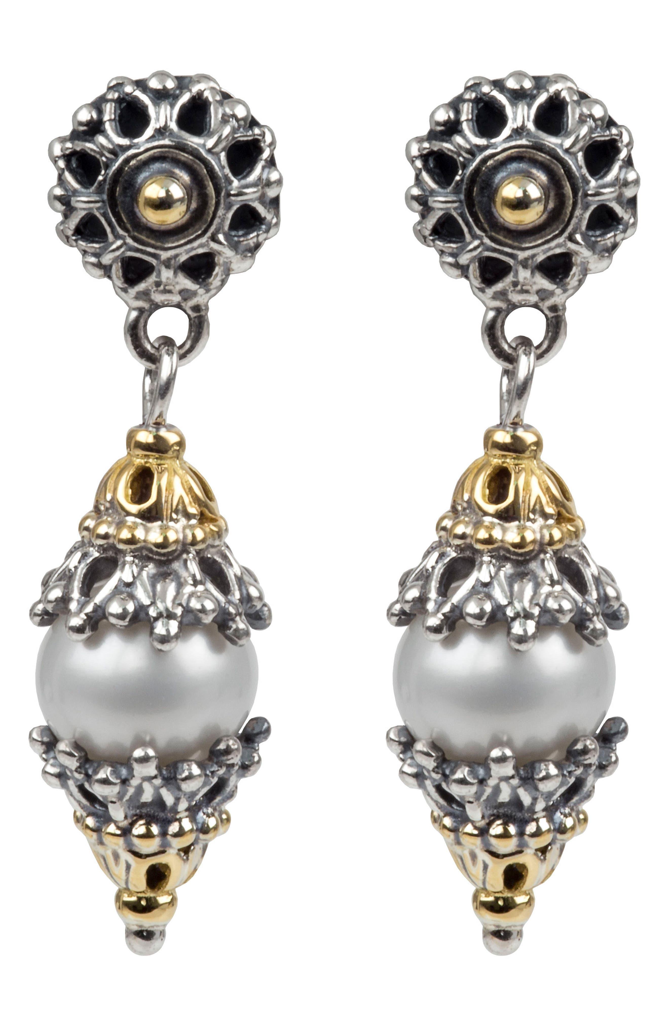 Classics Dangle Drop Pearl Earrings,                         Main,                         color, SILVER/ GOLD