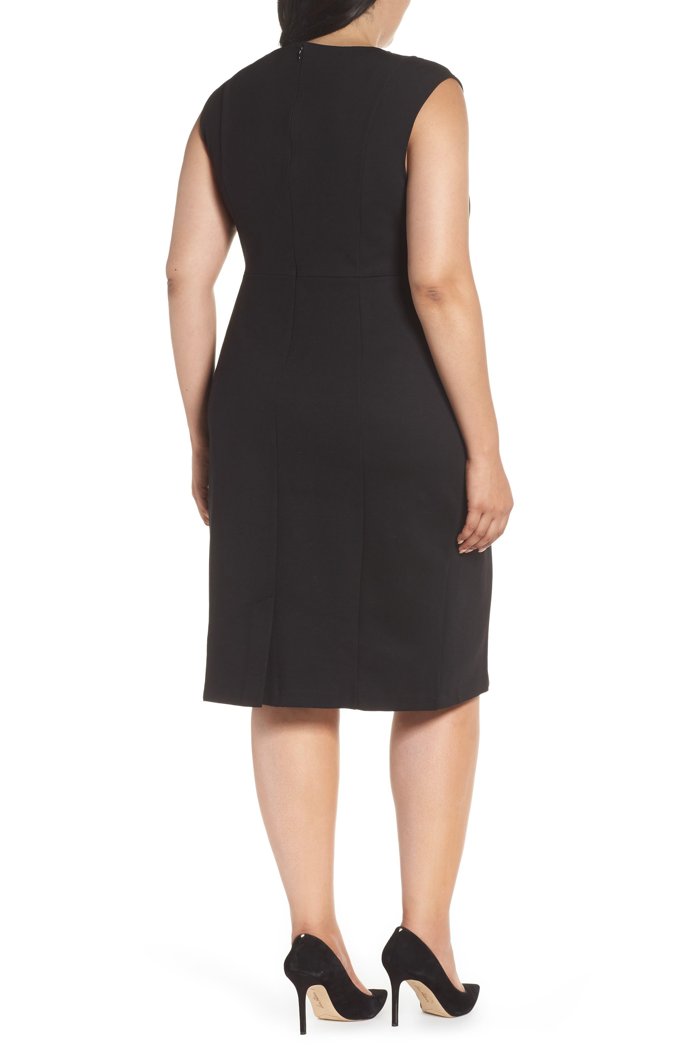 Asymmetrical Neck Sheath Dress,                             Alternate thumbnail 2, color,                             001
