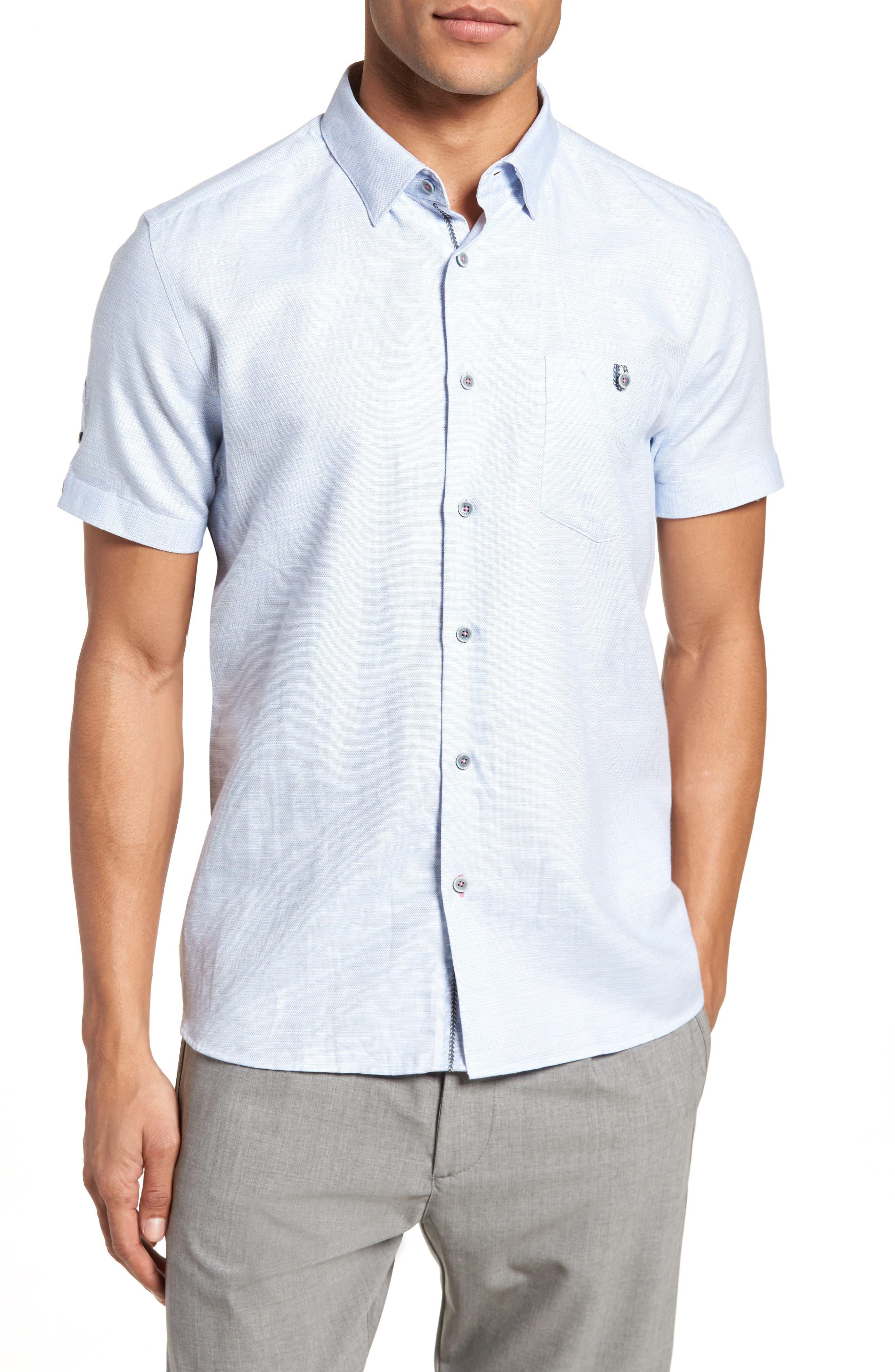 Slim Fit Sport Shirt,                         Main,                         color, BLUE