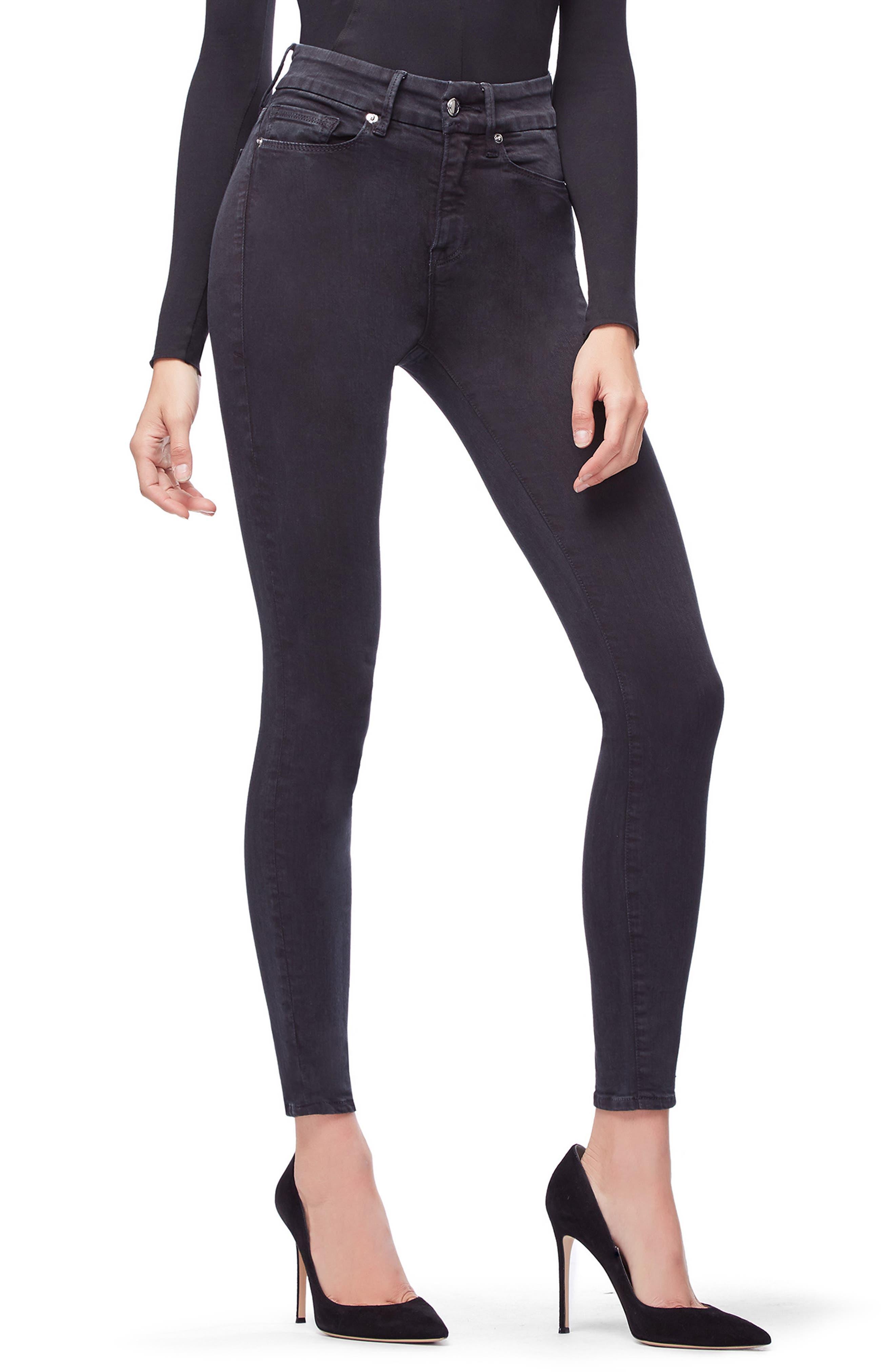 Good Legs High Waist Skinny Jeans,                             Alternate thumbnail 4, color,                             001