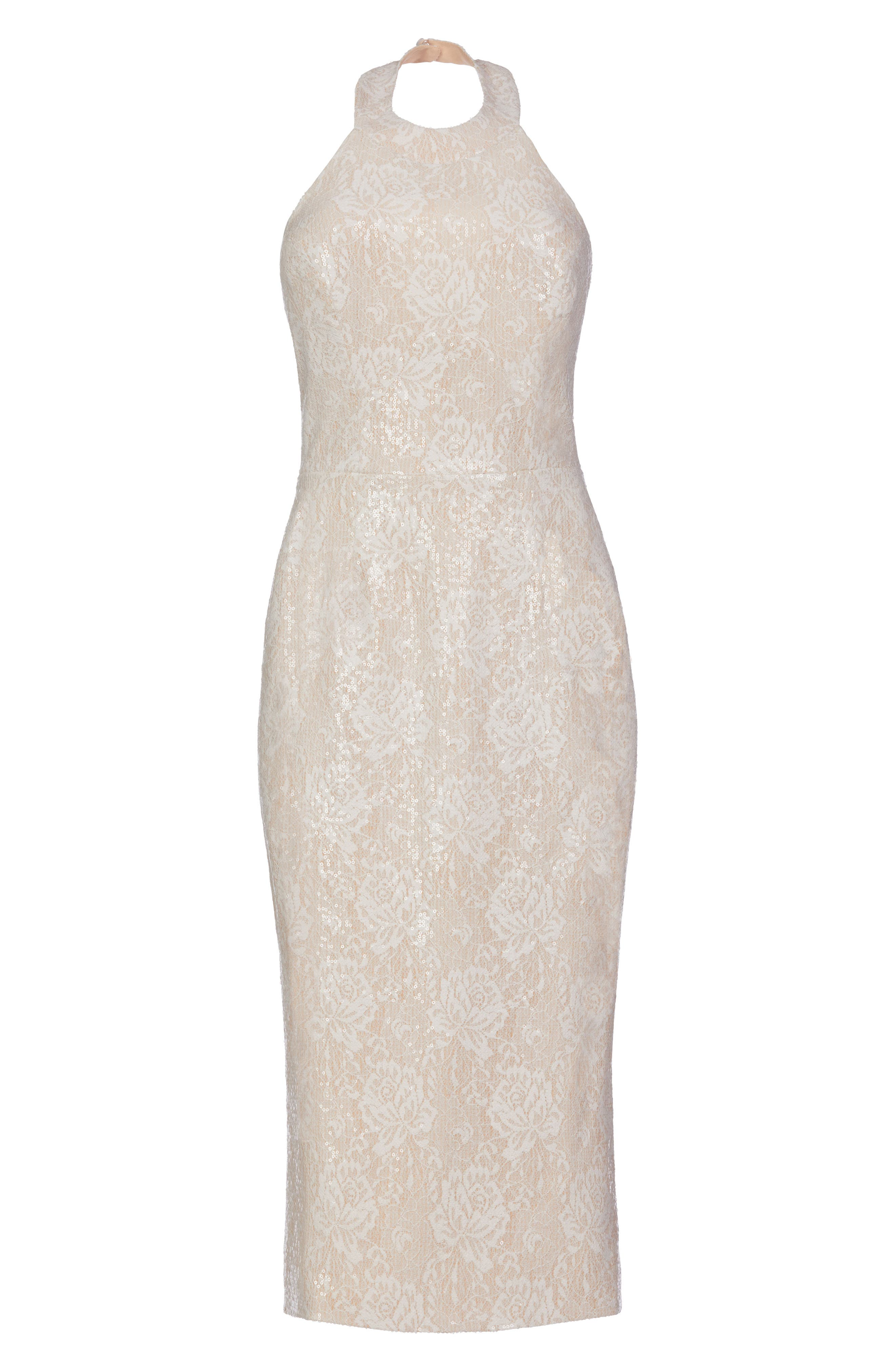 Cassie Halter Sequin Dress,                             Alternate thumbnail 4, color,                             154