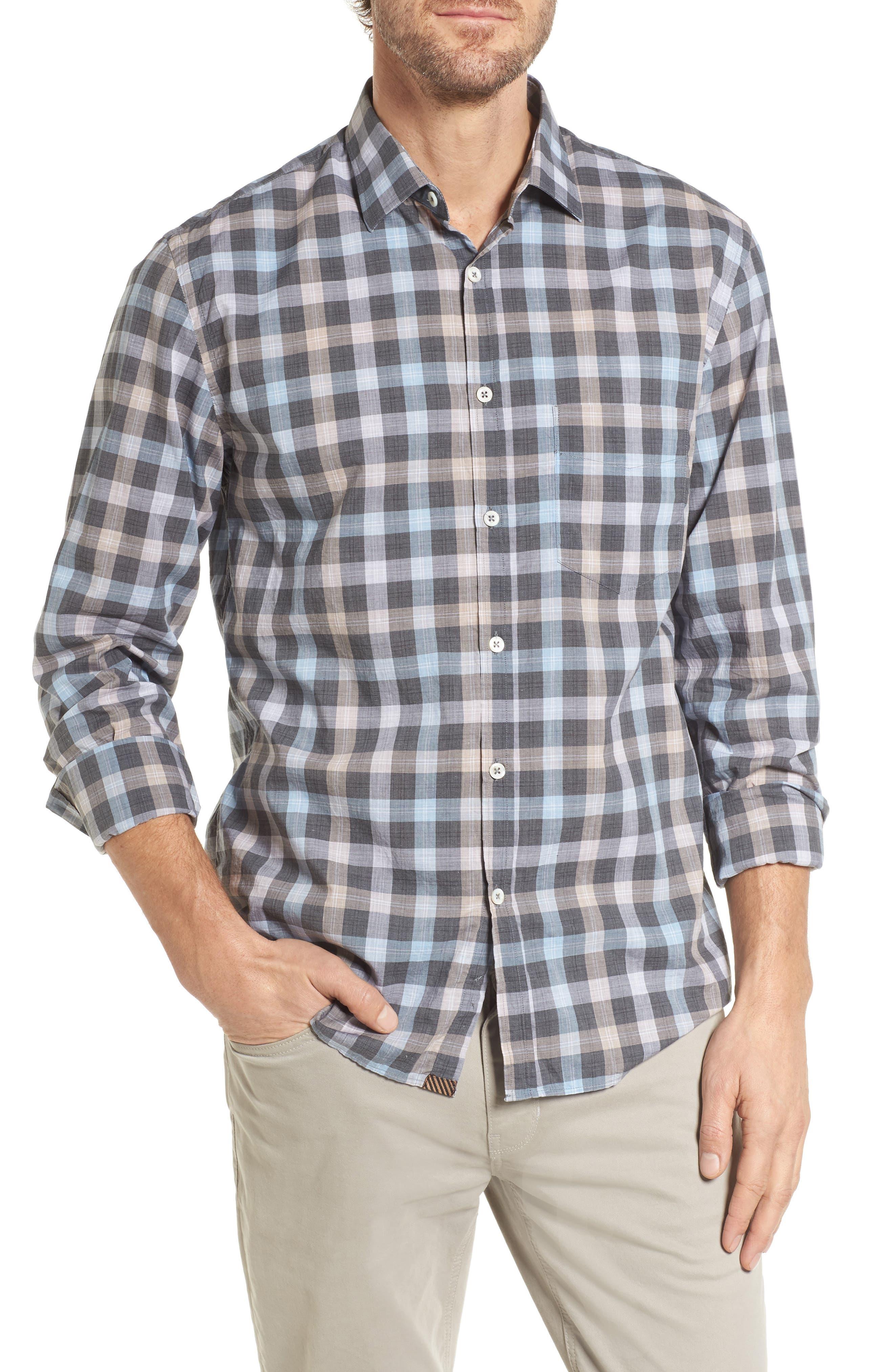 John T Standard Fit Check Sport Shirt,                         Main,                         color, 400