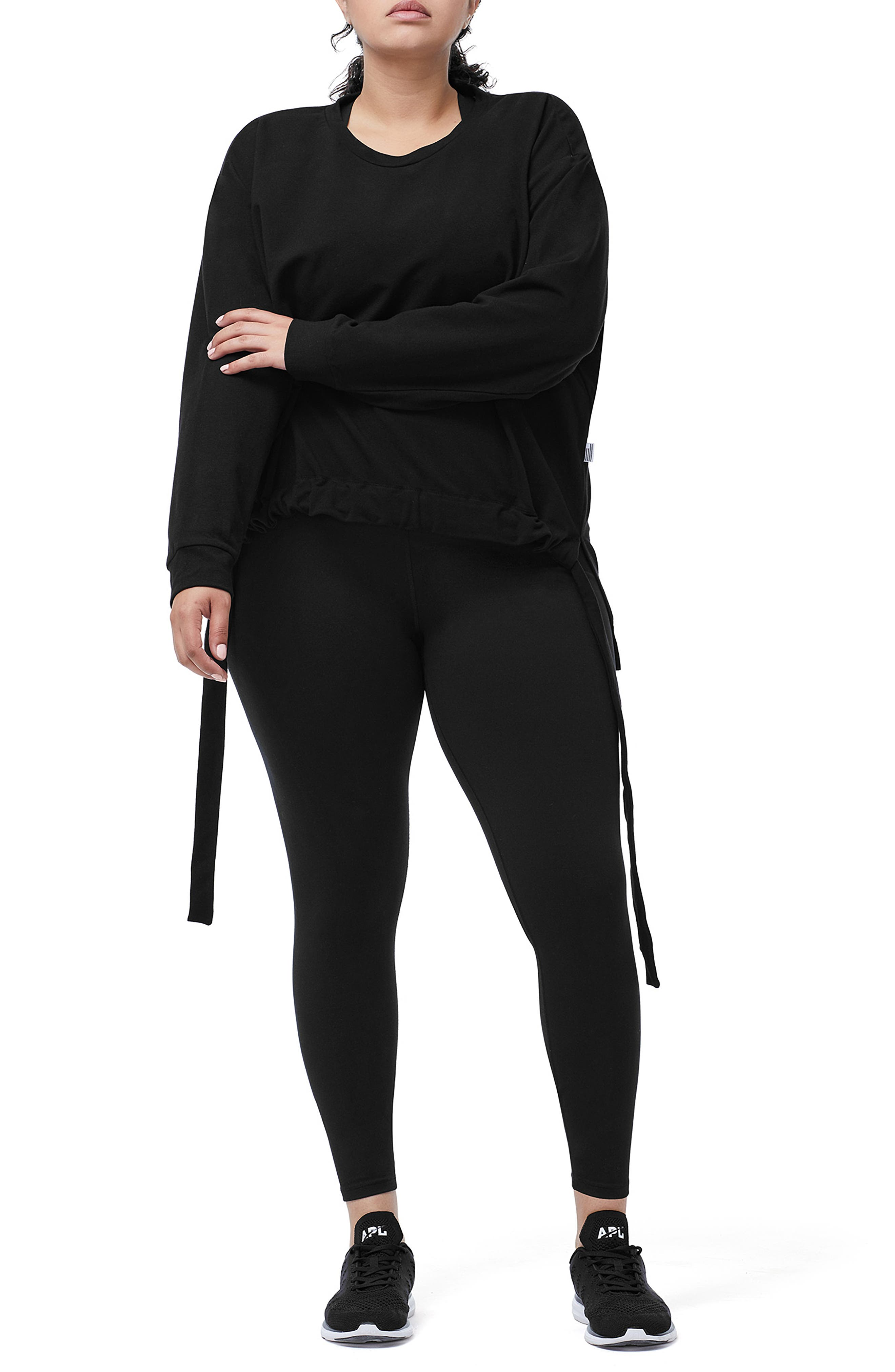 Ruched Hem High/Low Sweatshirt,                             Alternate thumbnail 8, color,                             BLACK001