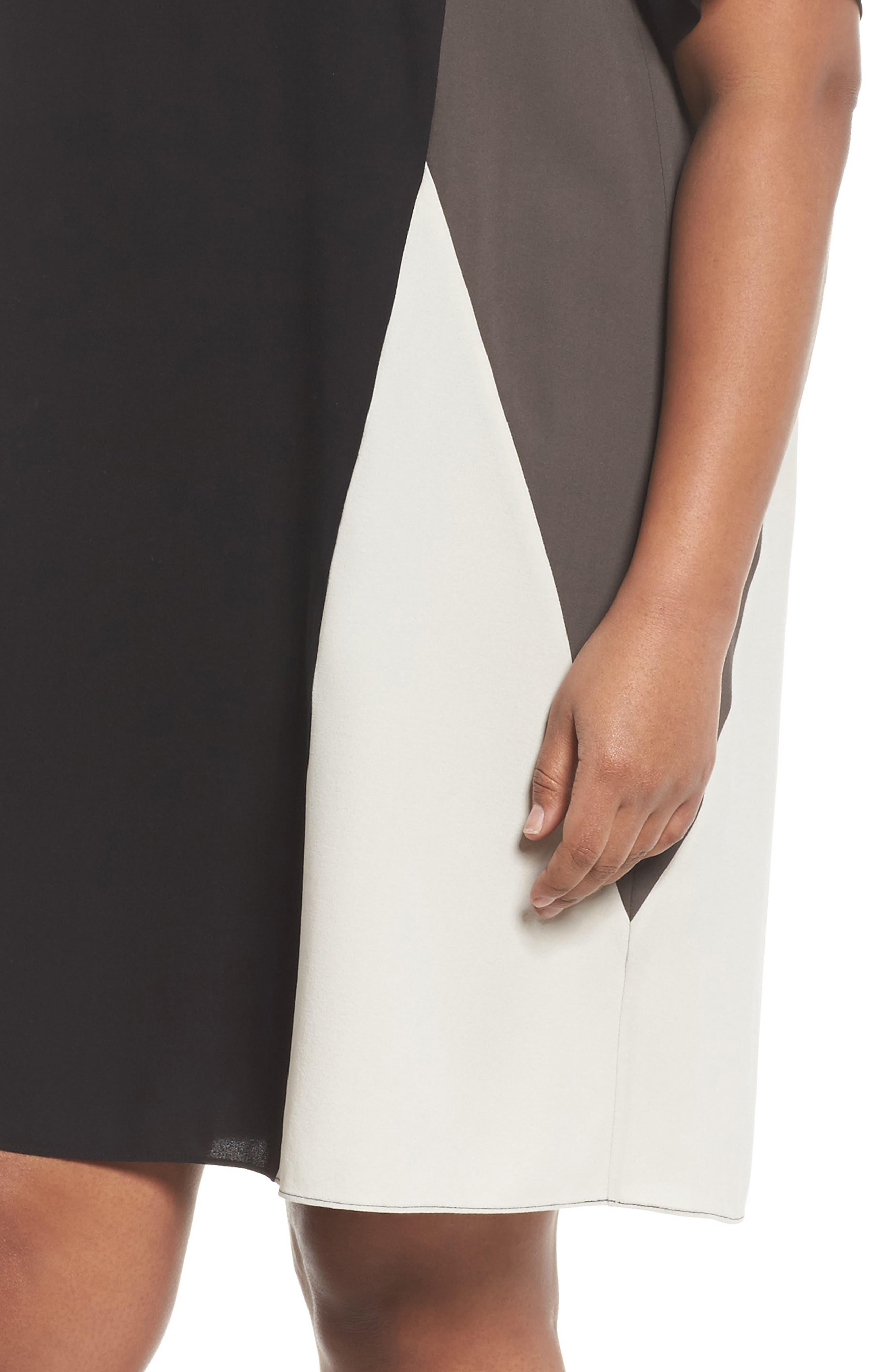 Colorblock Silk Shift Dress,                             Alternate thumbnail 4, color,                             001