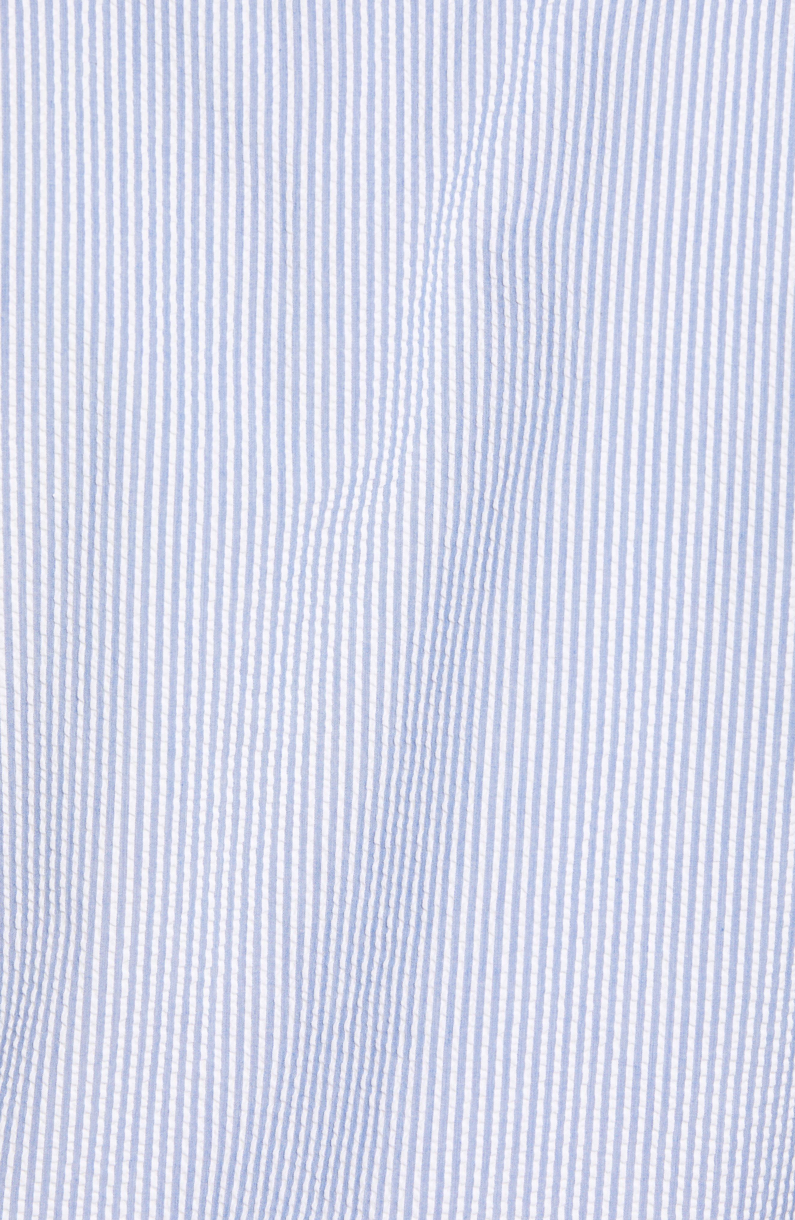 Summertime Stripe Seersucker Sport Shirt,                             Alternate thumbnail 5, color,                             BLUE CEILLO