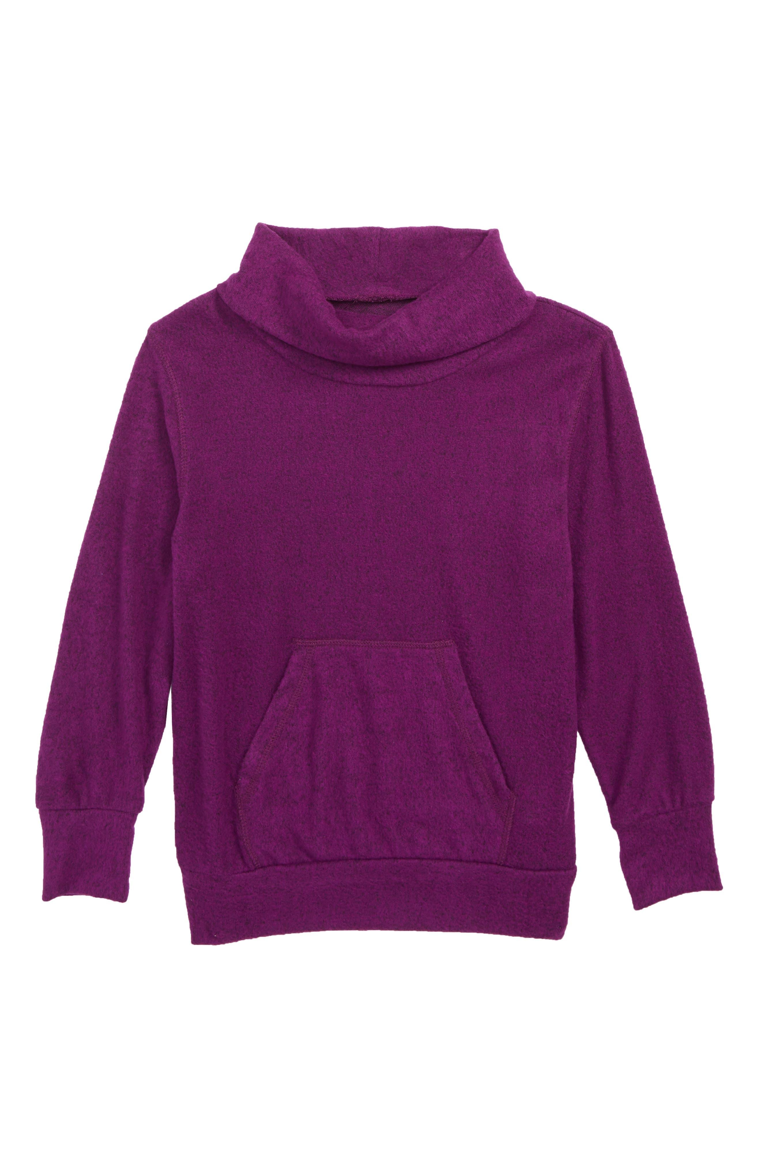 Cowl Neck Pullover,                         Main,                         color, PURPLE DARK HEATHER
