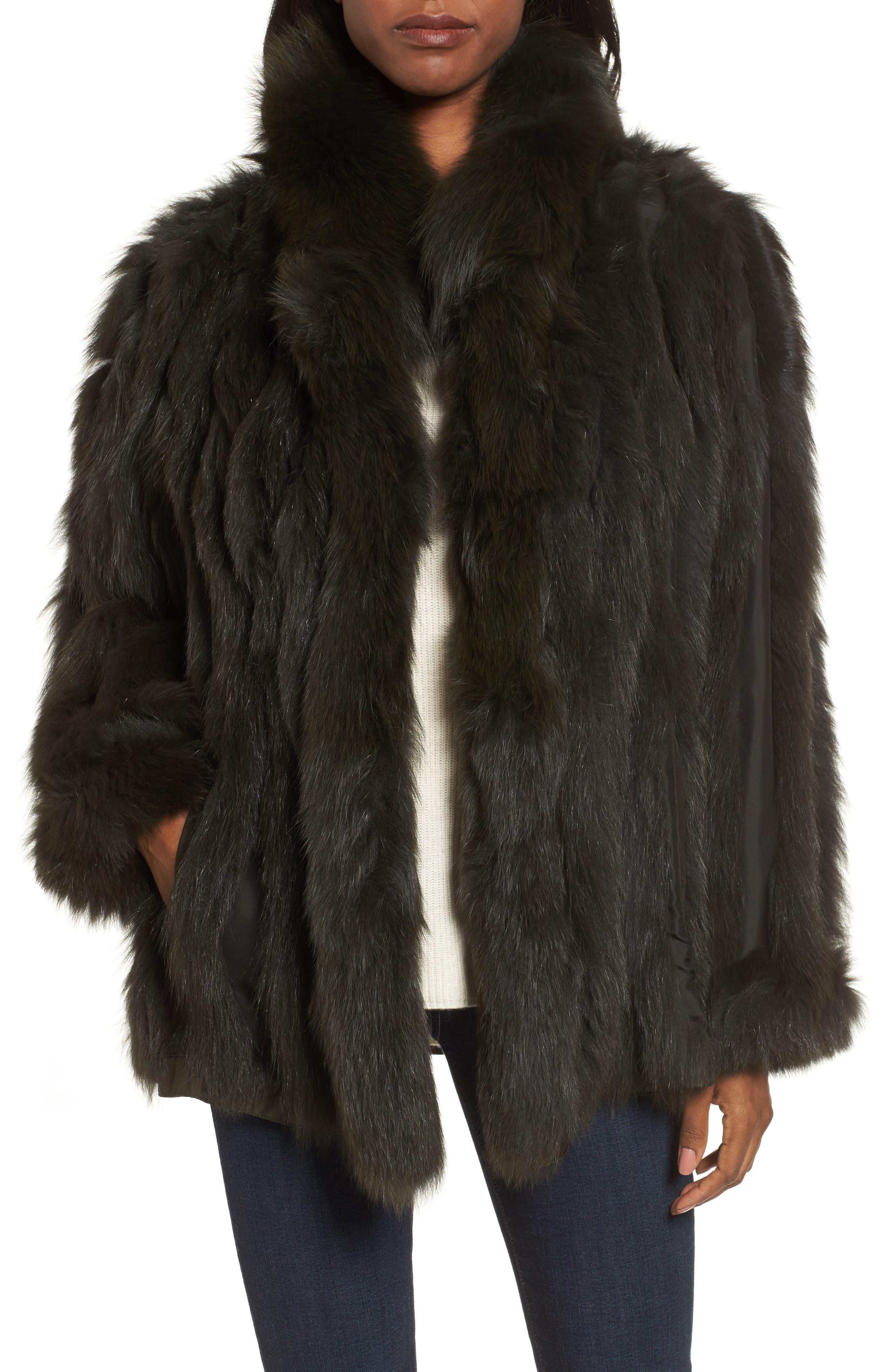 GeorgeSimonton Reversible Silk & Genuine Fox Fur Topper,                             Alternate thumbnail 16, color,