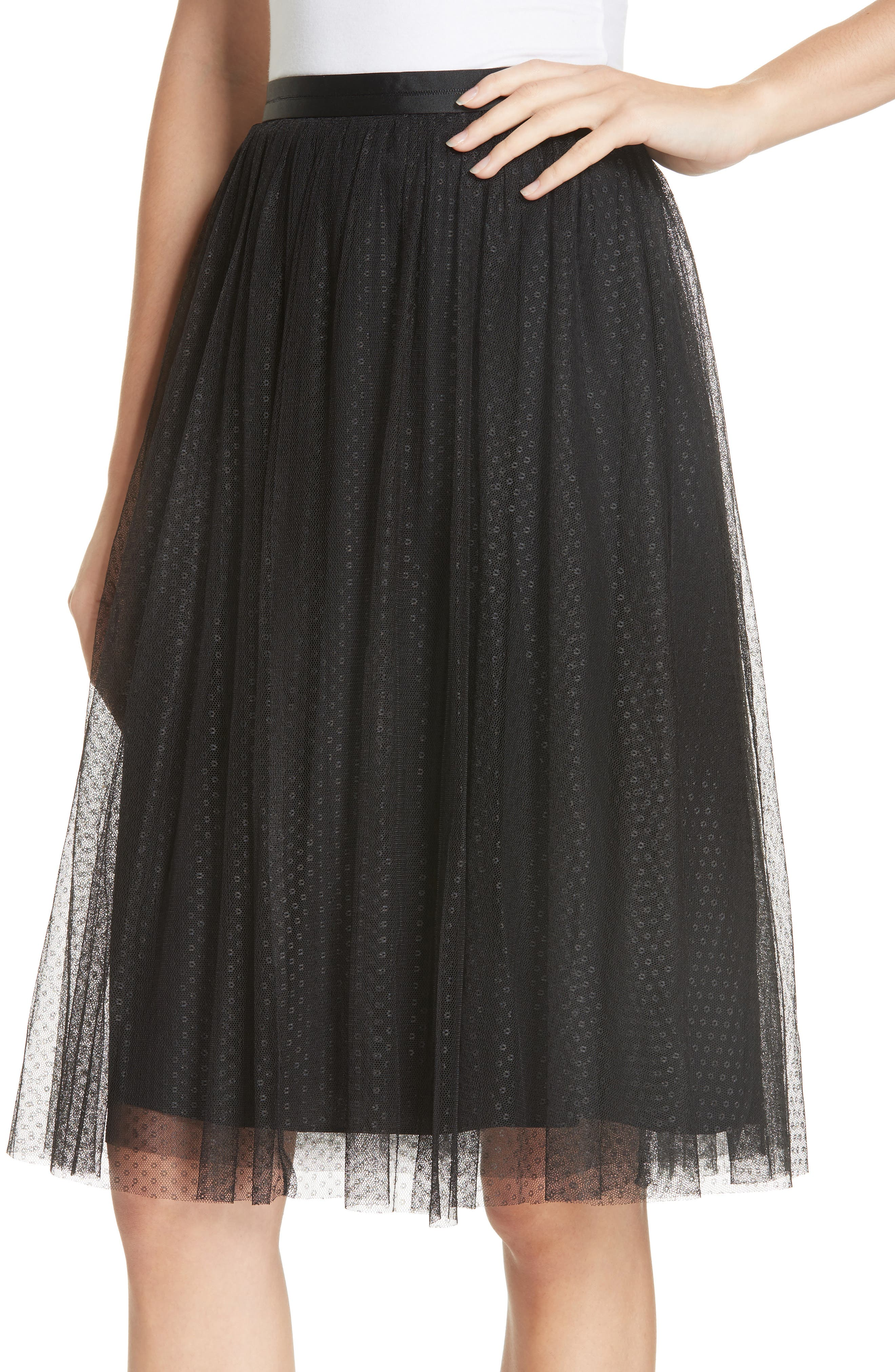 Dotted Tulle Skirt,                             Alternate thumbnail 4, color,                             001