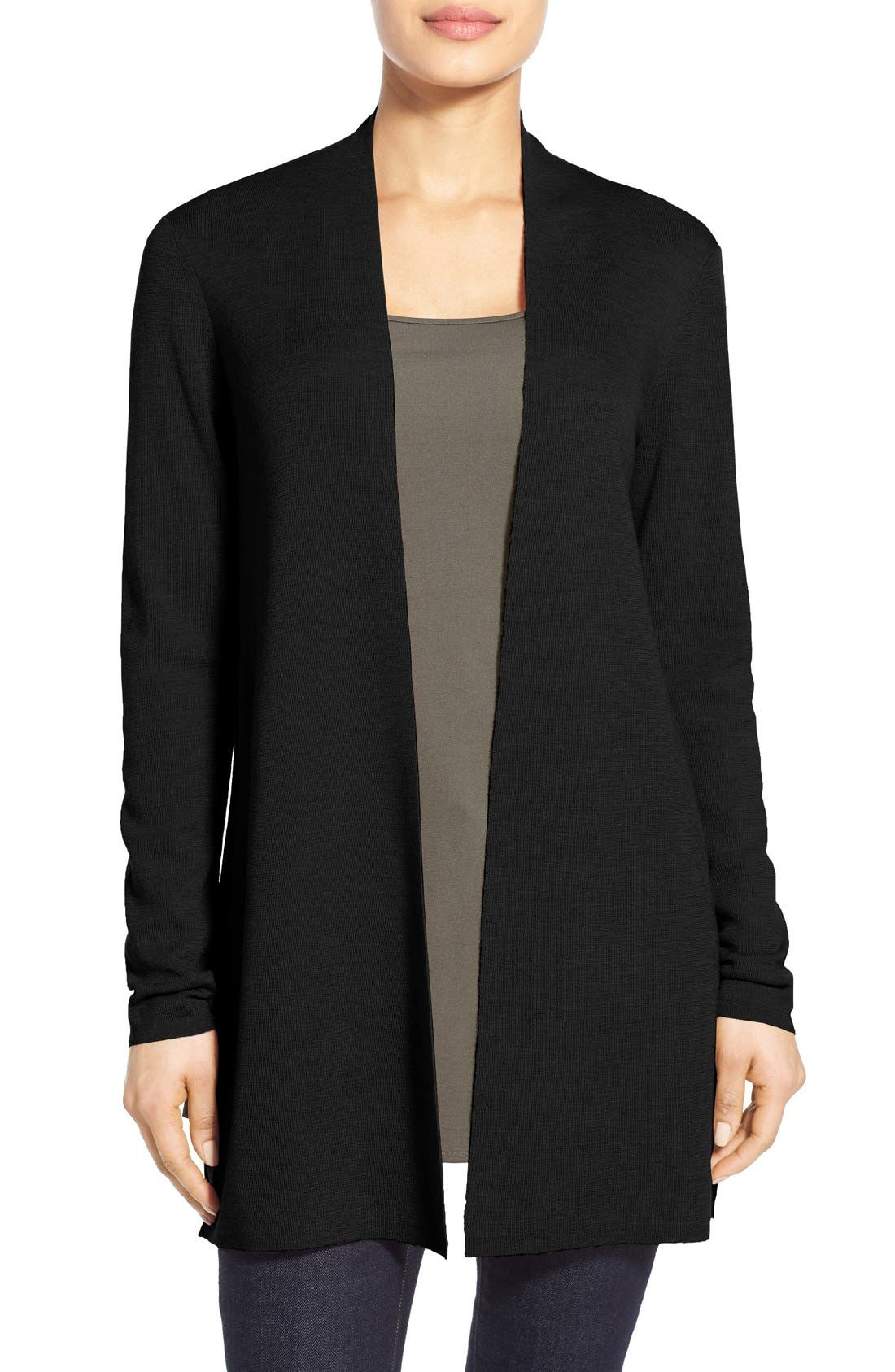 Merino Straight Long Cardigan, Main, color, BLACK