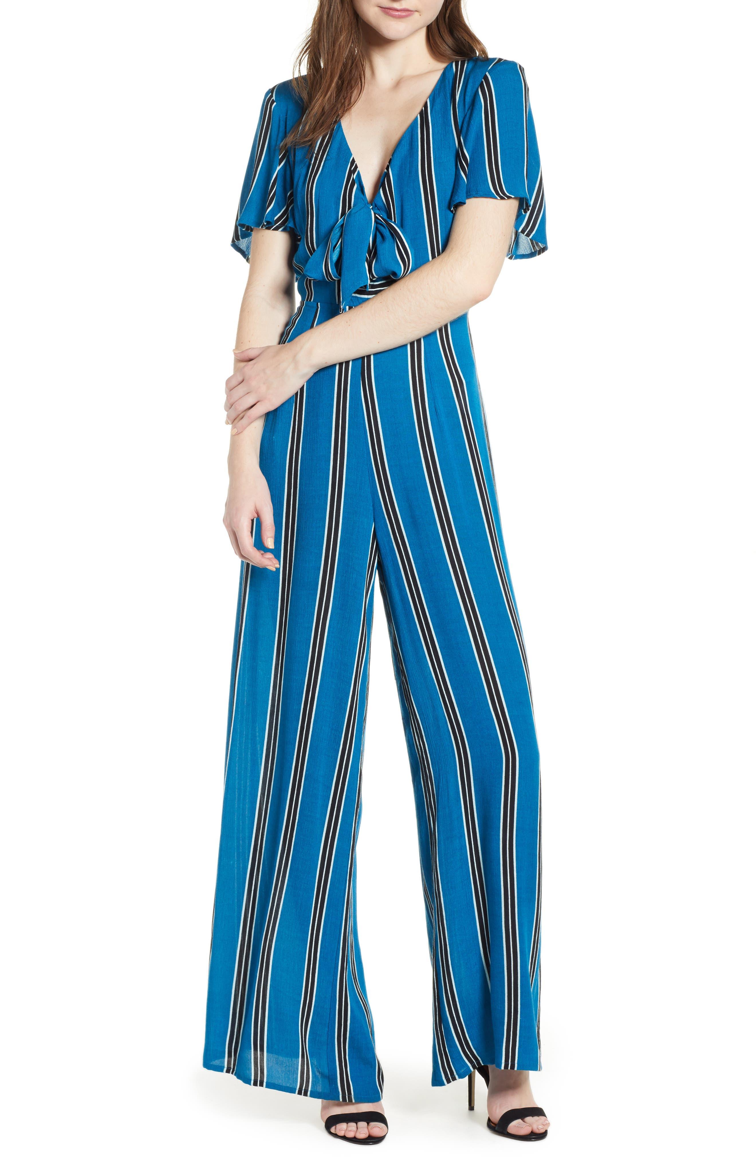 Knot Front Stripe Jumpsuit,                             Main thumbnail 1, color,                             BLUE/ BLACK
