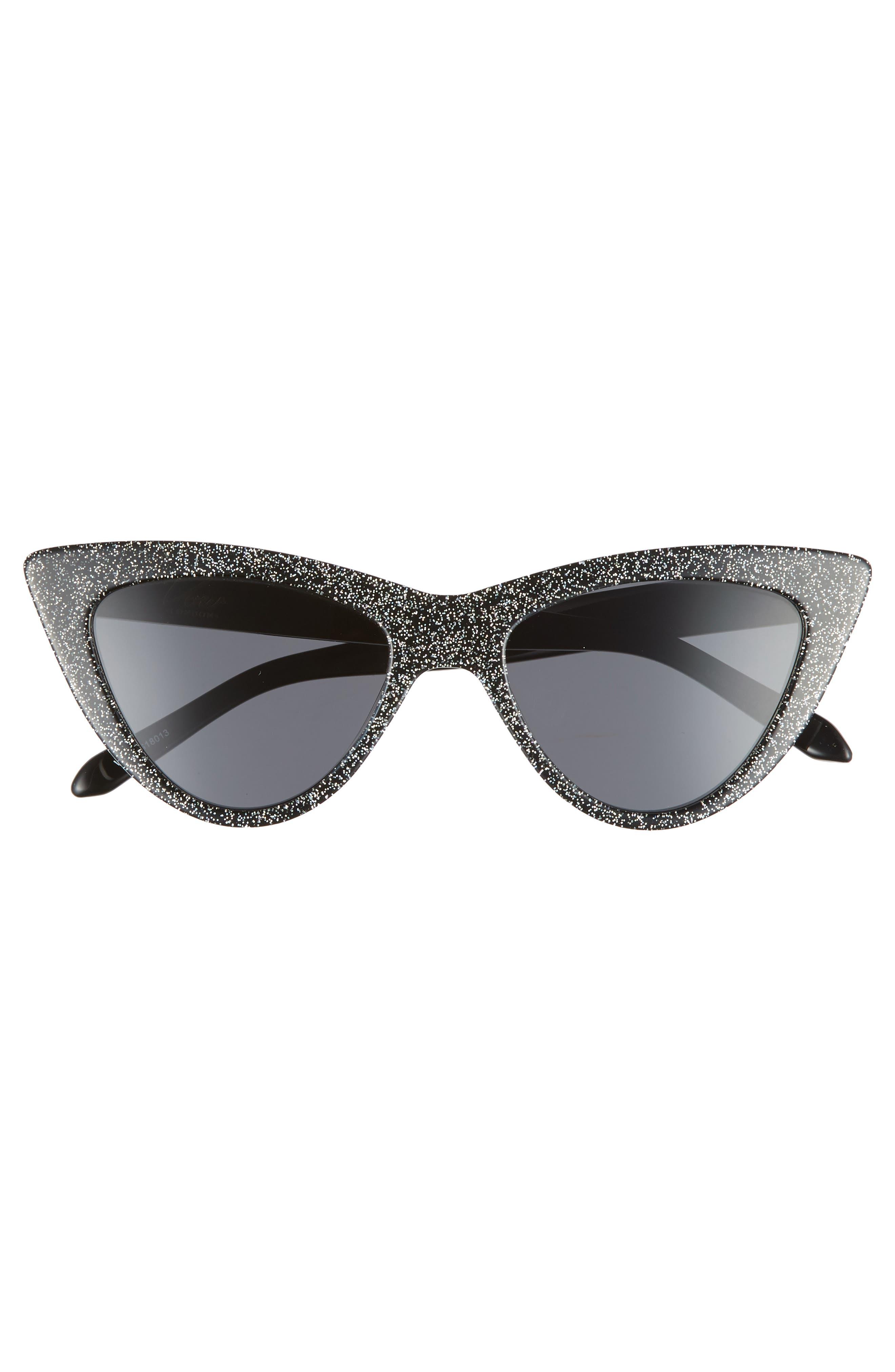 Nancy 53mm Cat Eye Sunglasses,                             Alternate thumbnail 3, color,                             MULTI GLITTER/ SMOKE