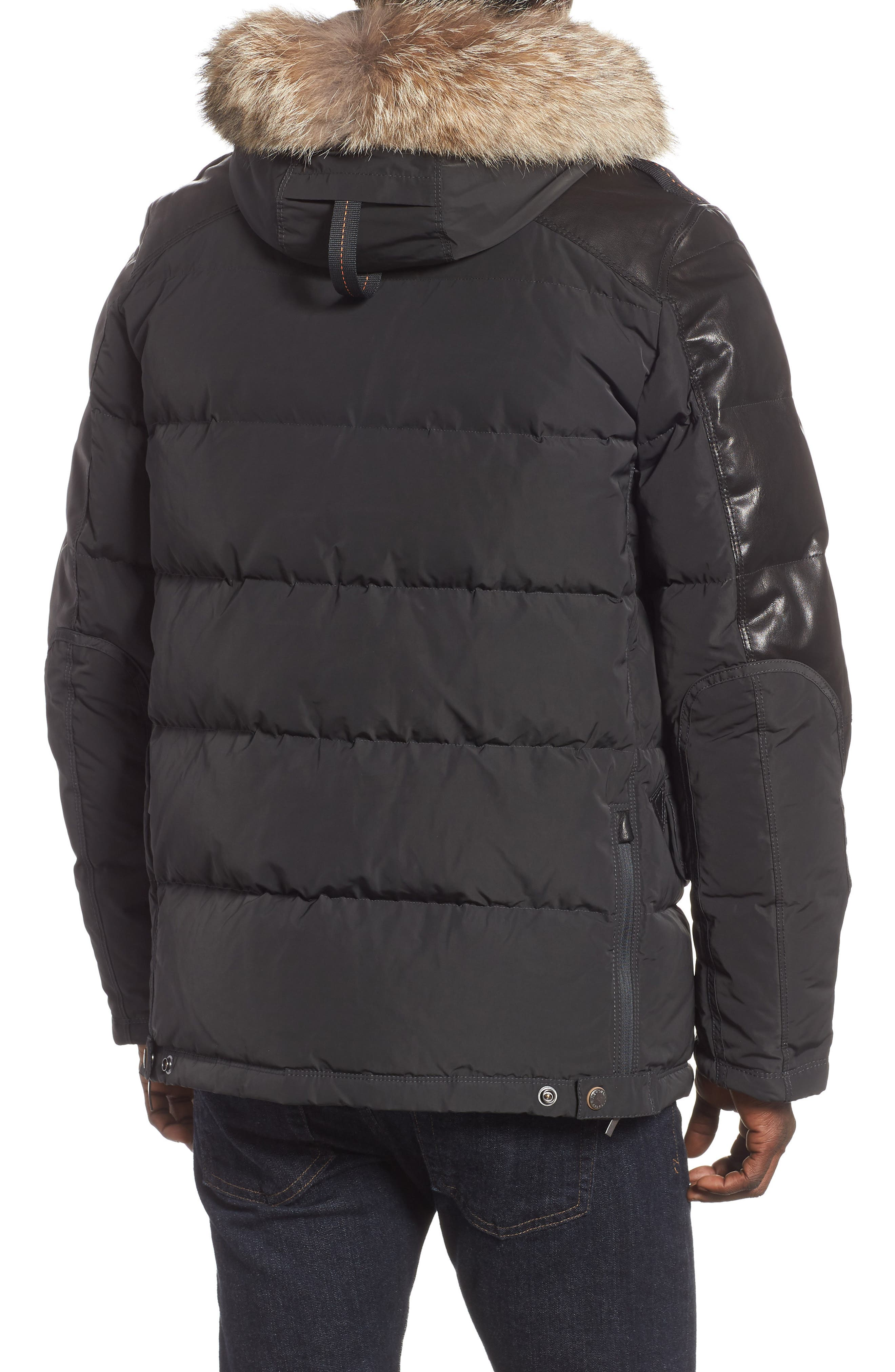 Dhole Hooded Down Jacket with Genuine Coyote Fur Trim,                             Alternate thumbnail 2, color,                             060