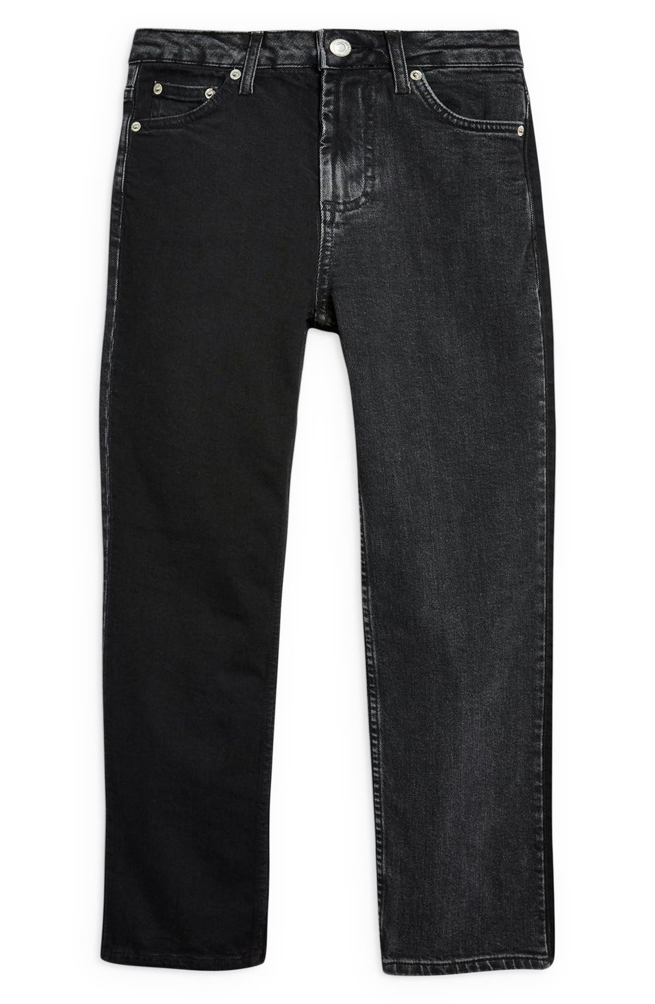 TOPSHOP,                             Colorblock Straight Leg Jeans,                             Alternate thumbnail 3, color,                             WASHED BLACK