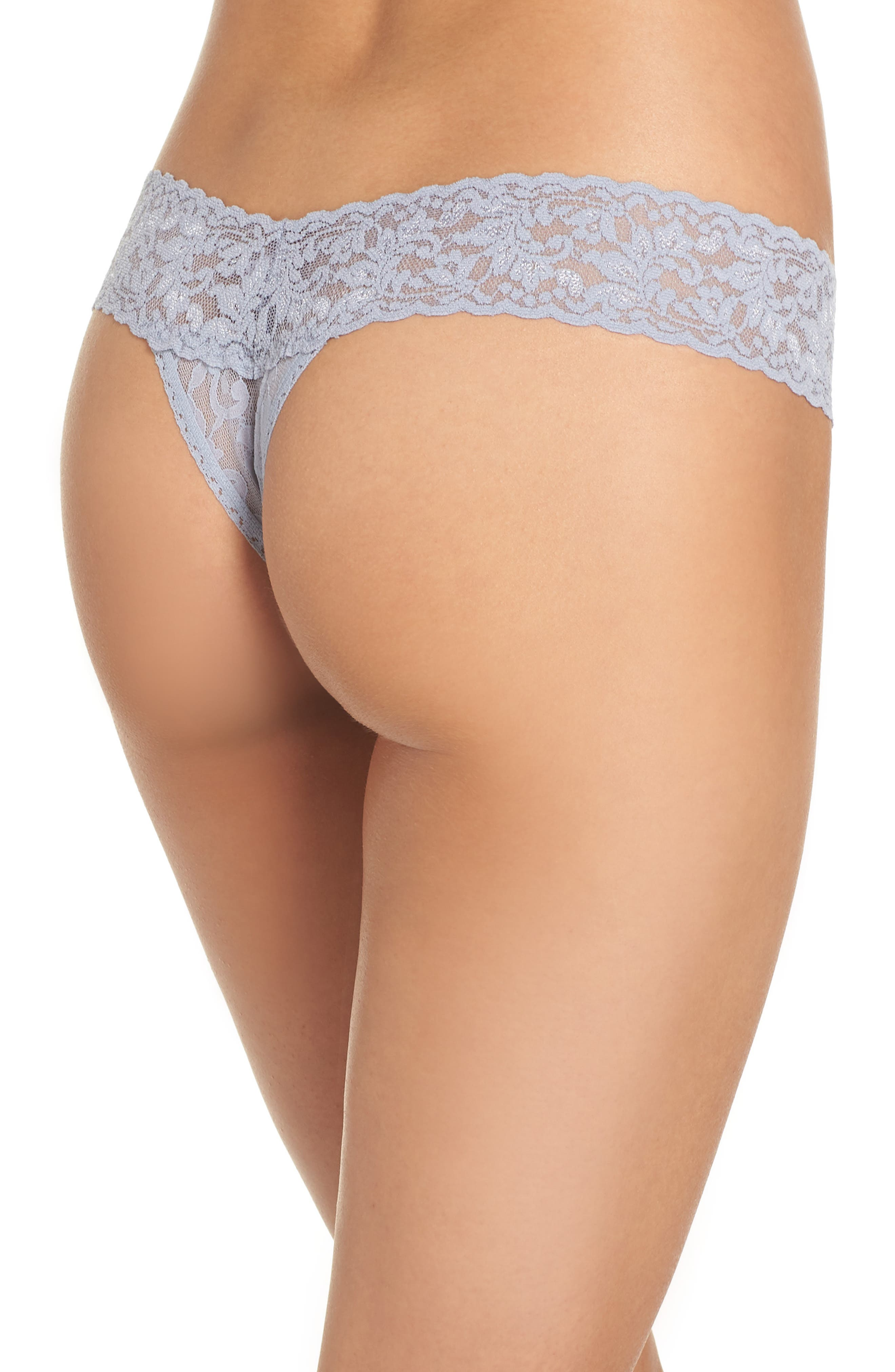 Signature Lace Low Rise Thong,                             Alternate thumbnail 2, color,                             SHINING ARMOUR