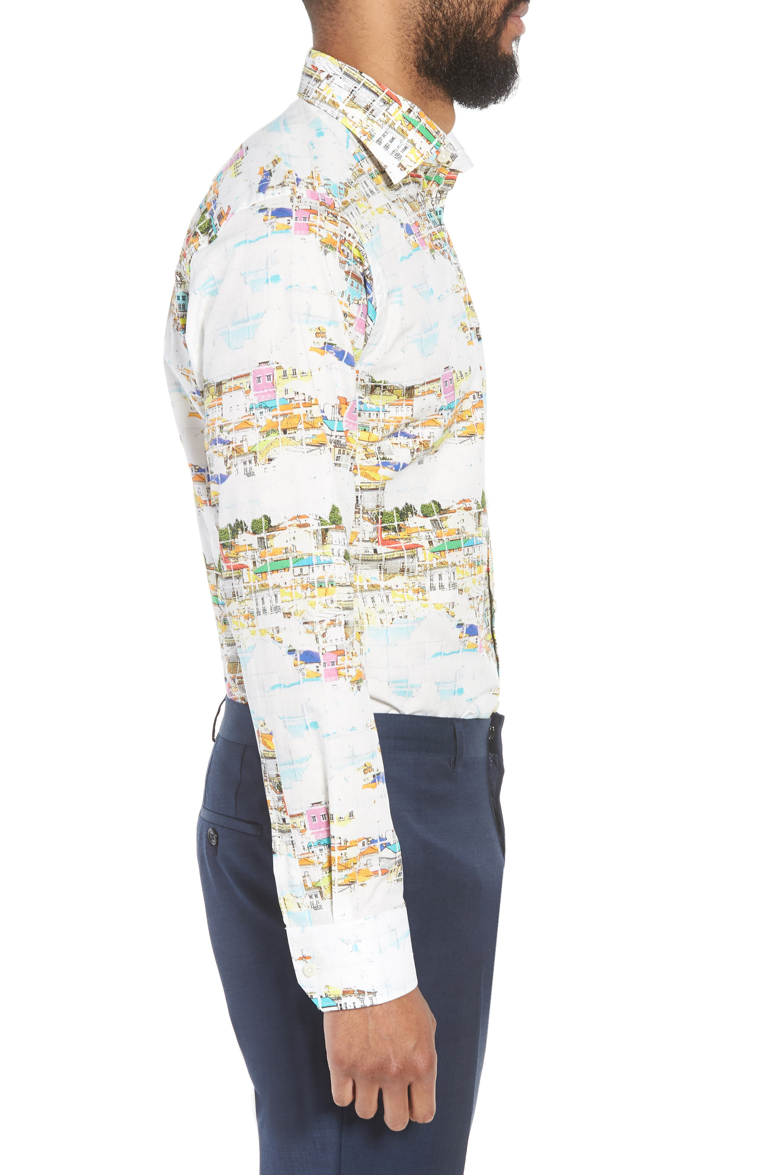 Slim Fit Print Dress Shirt,                             Alternate thumbnail 4, color,                             YELLOW