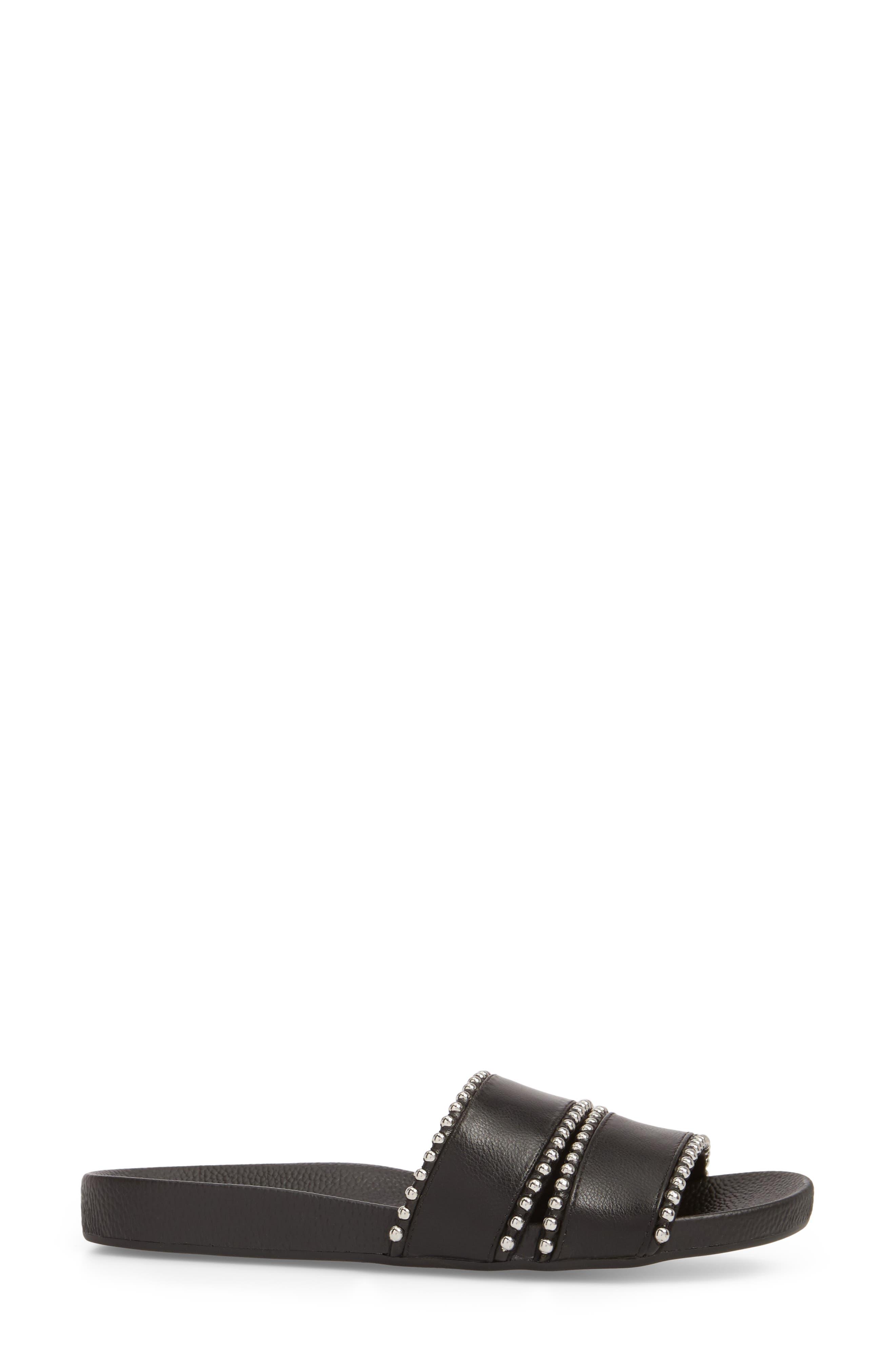 Rascal Studded Slide Sandal,                             Alternate thumbnail 3, color,                             001