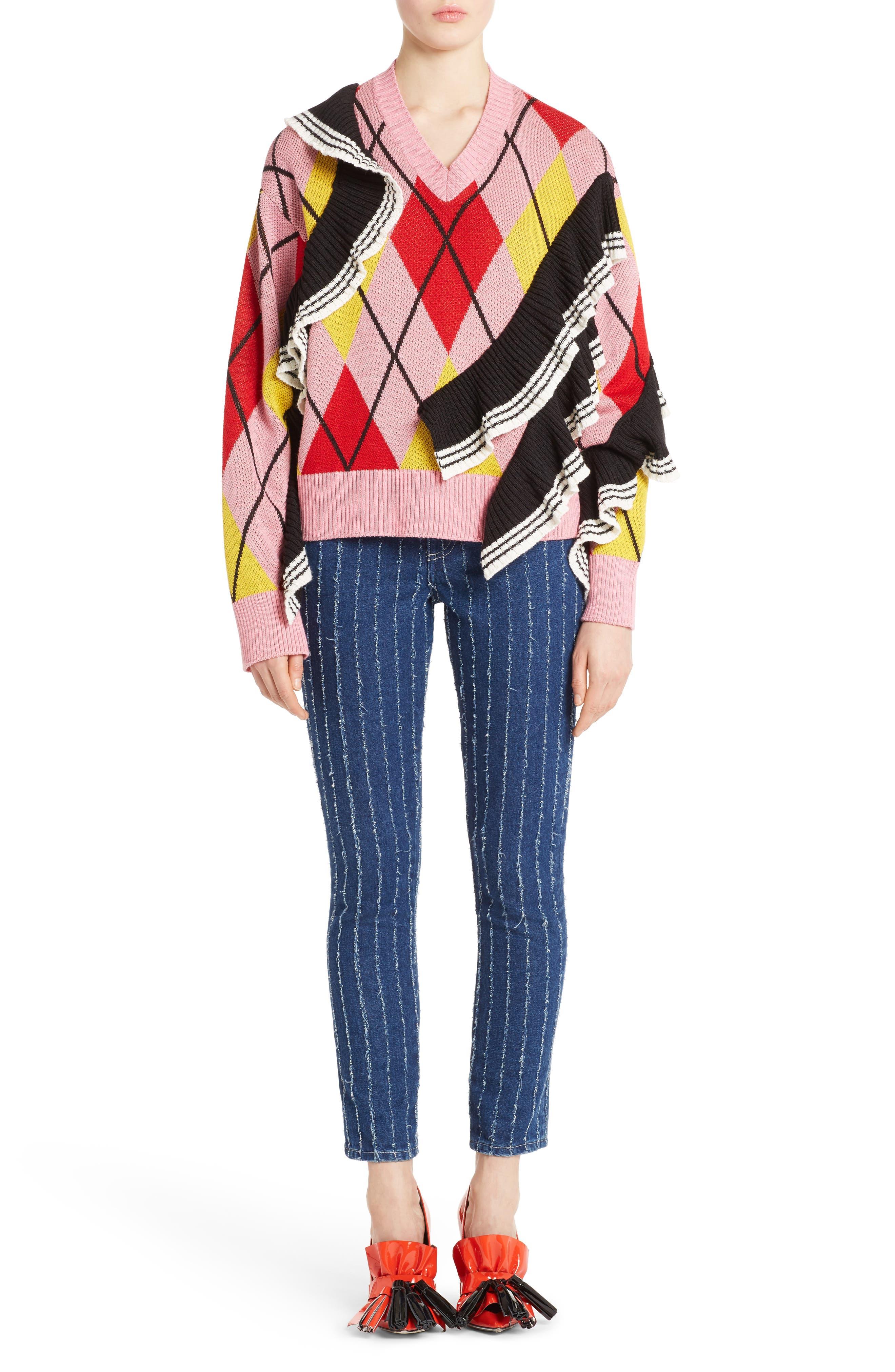 Argyle Ruffle Sweater,                             Alternate thumbnail 6, color,                             650